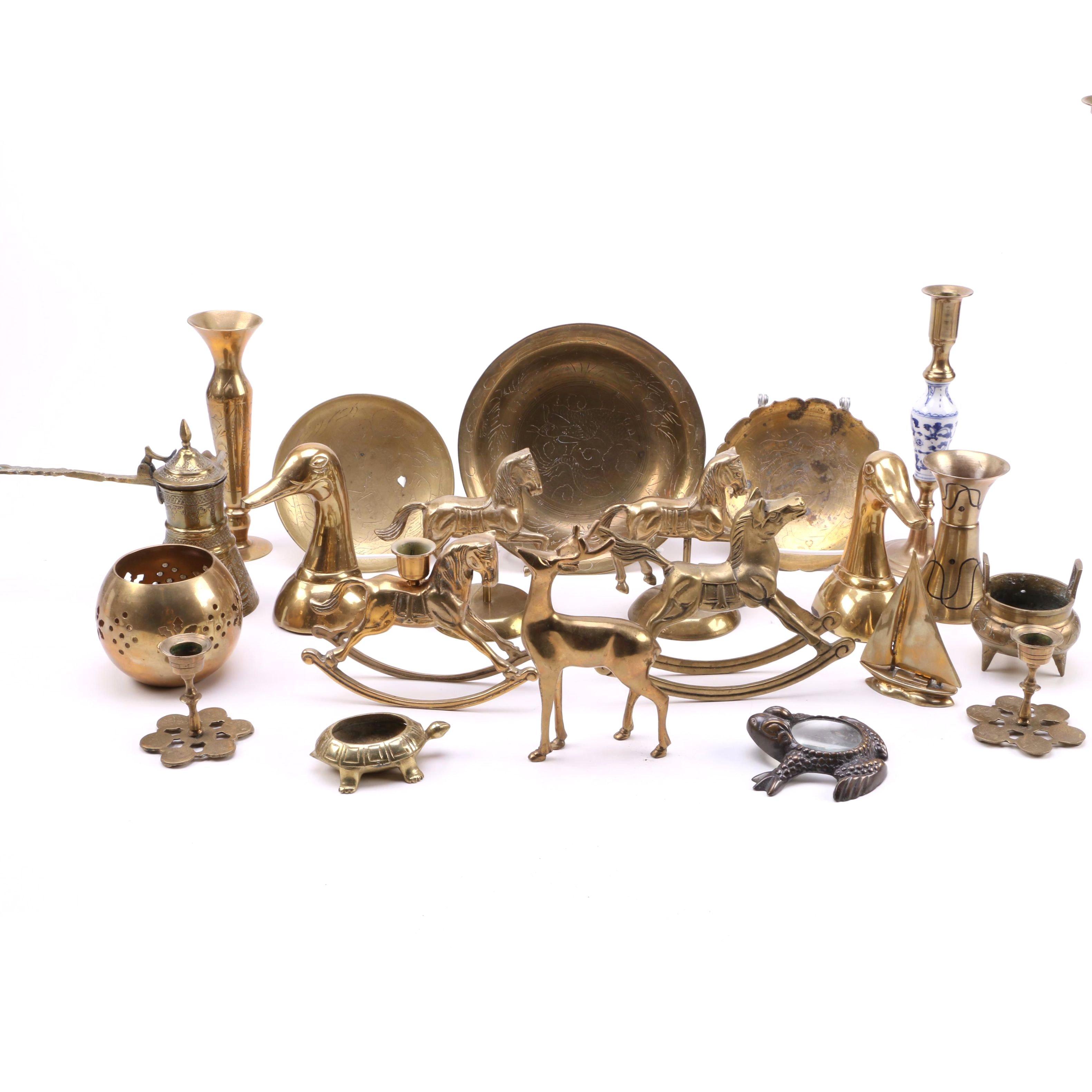 Large Assortment of Brass Decor