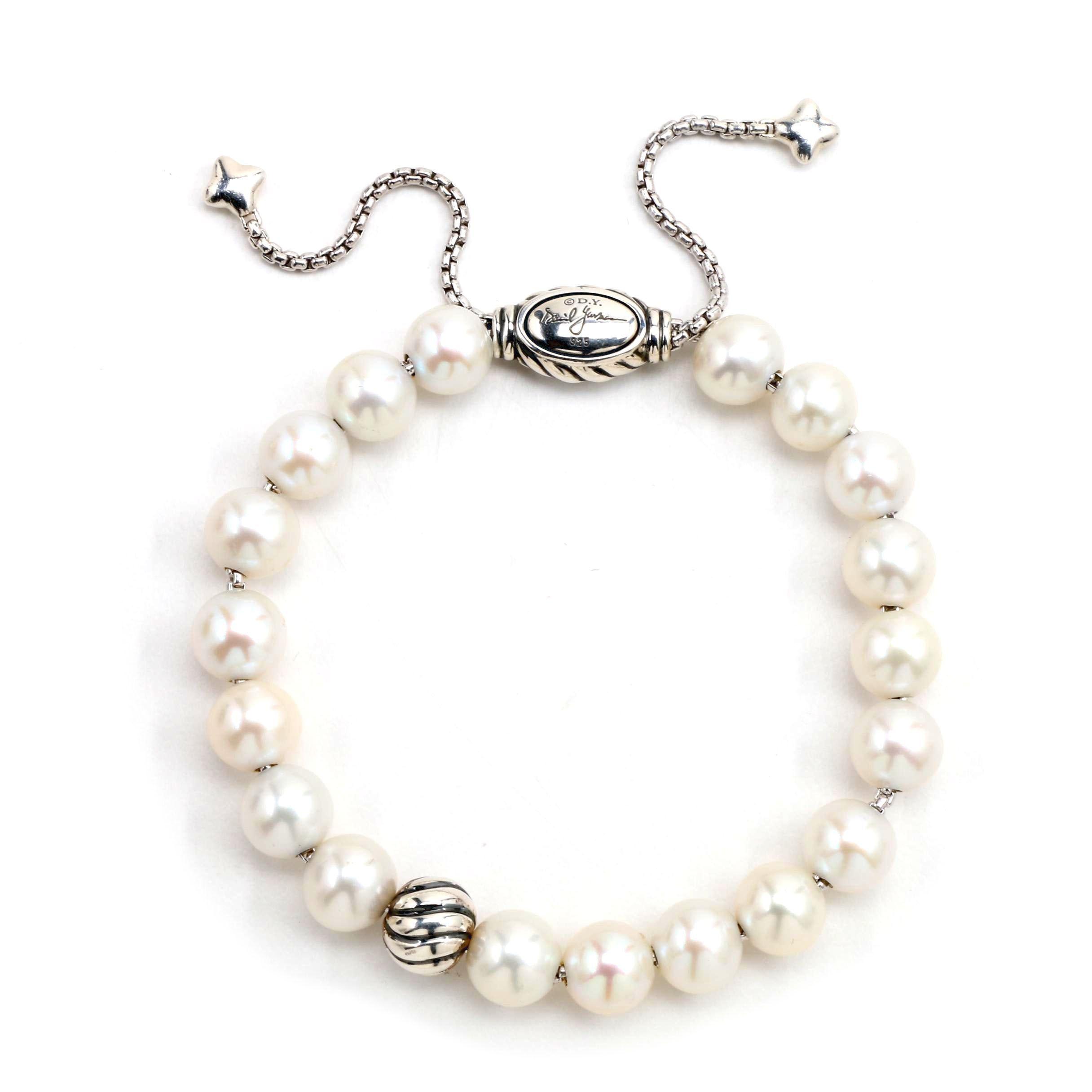 David Yurman Cultured Pearl Bracelet on Adjustable Sterling Silver Chain
