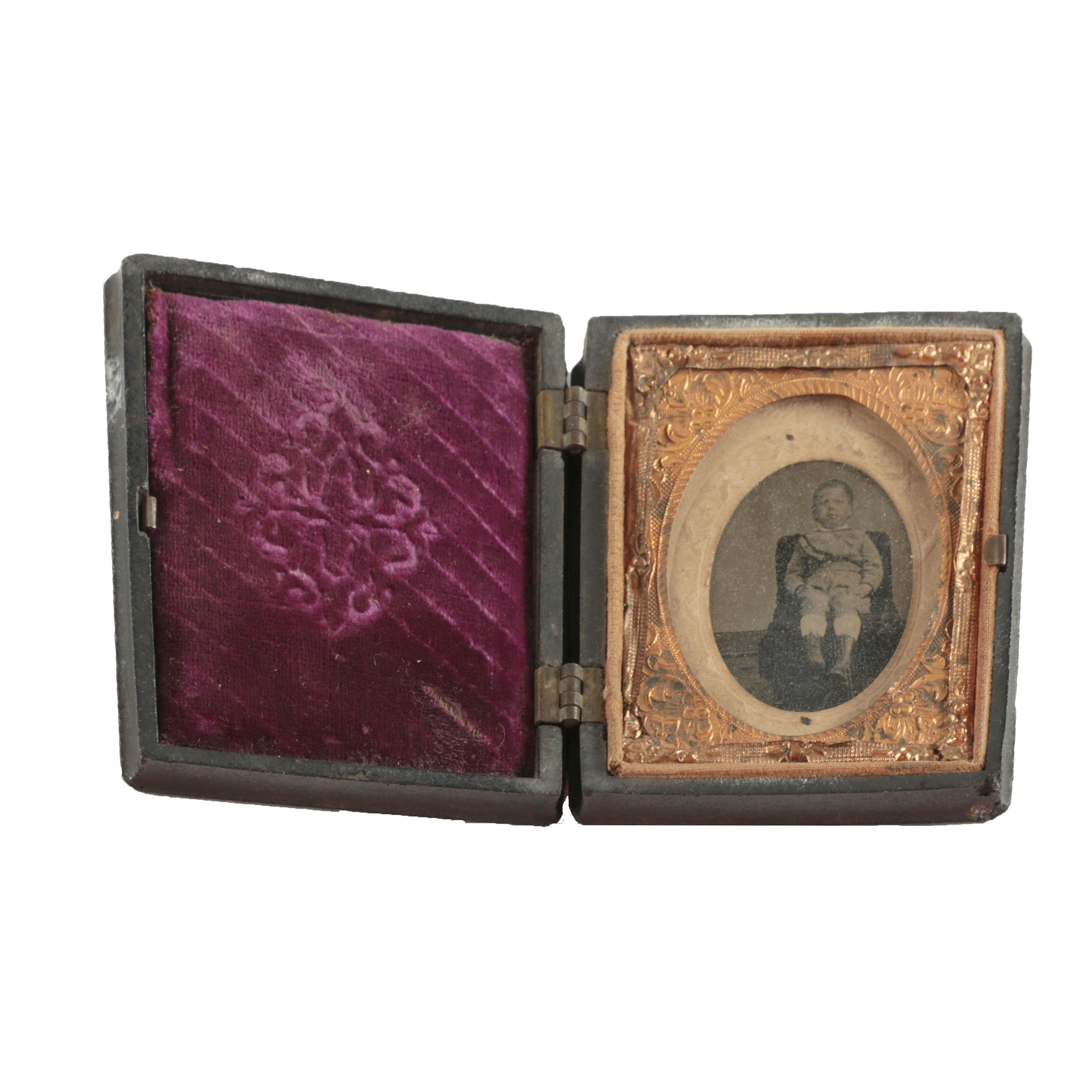 19th Century Tintype Photograph Portrait in Thermoplastic Union Case