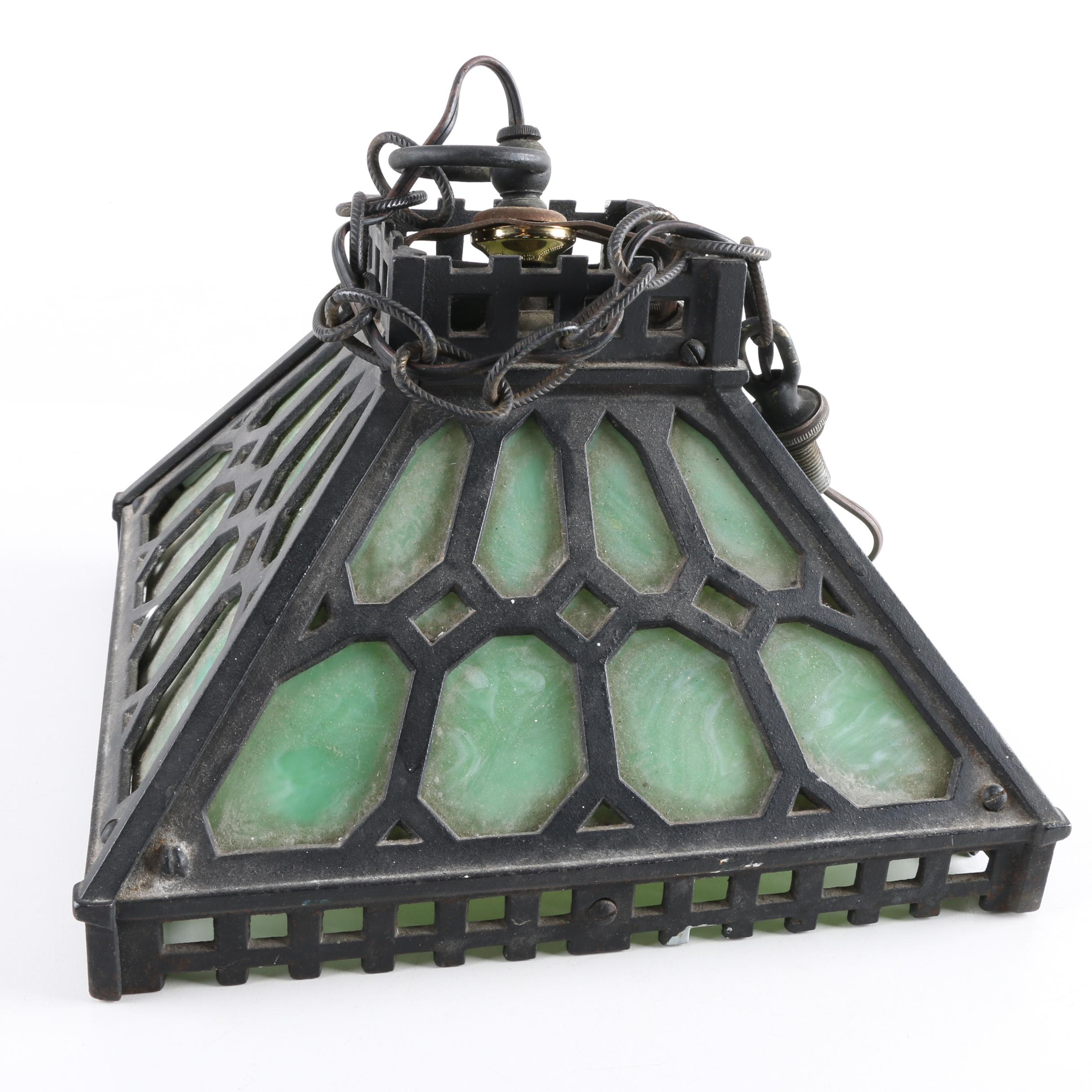 Metal and Glass Hanging Light Fixture