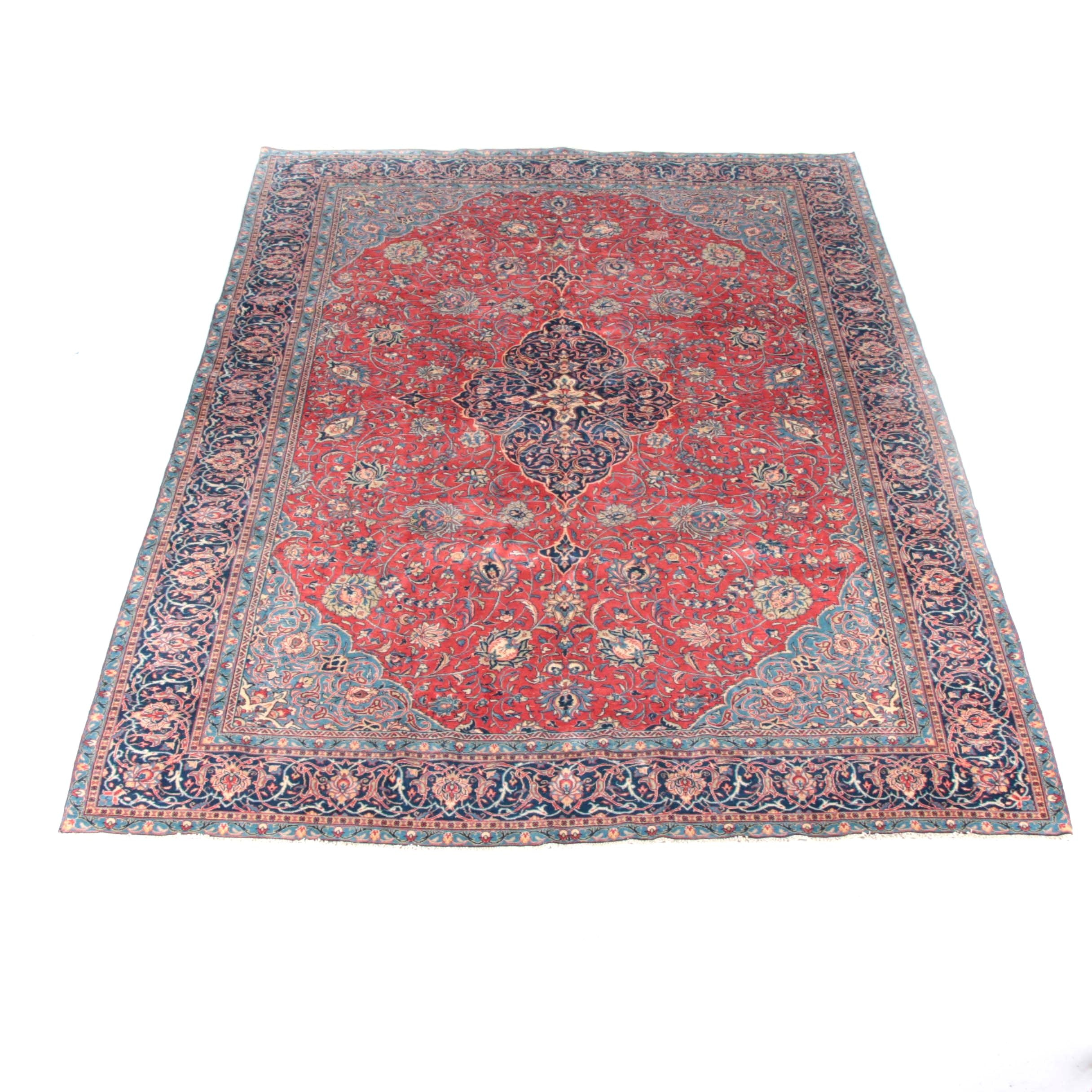 Handwoven Semi-Antique Persian Lilihan Sarouk Wool Area Rug