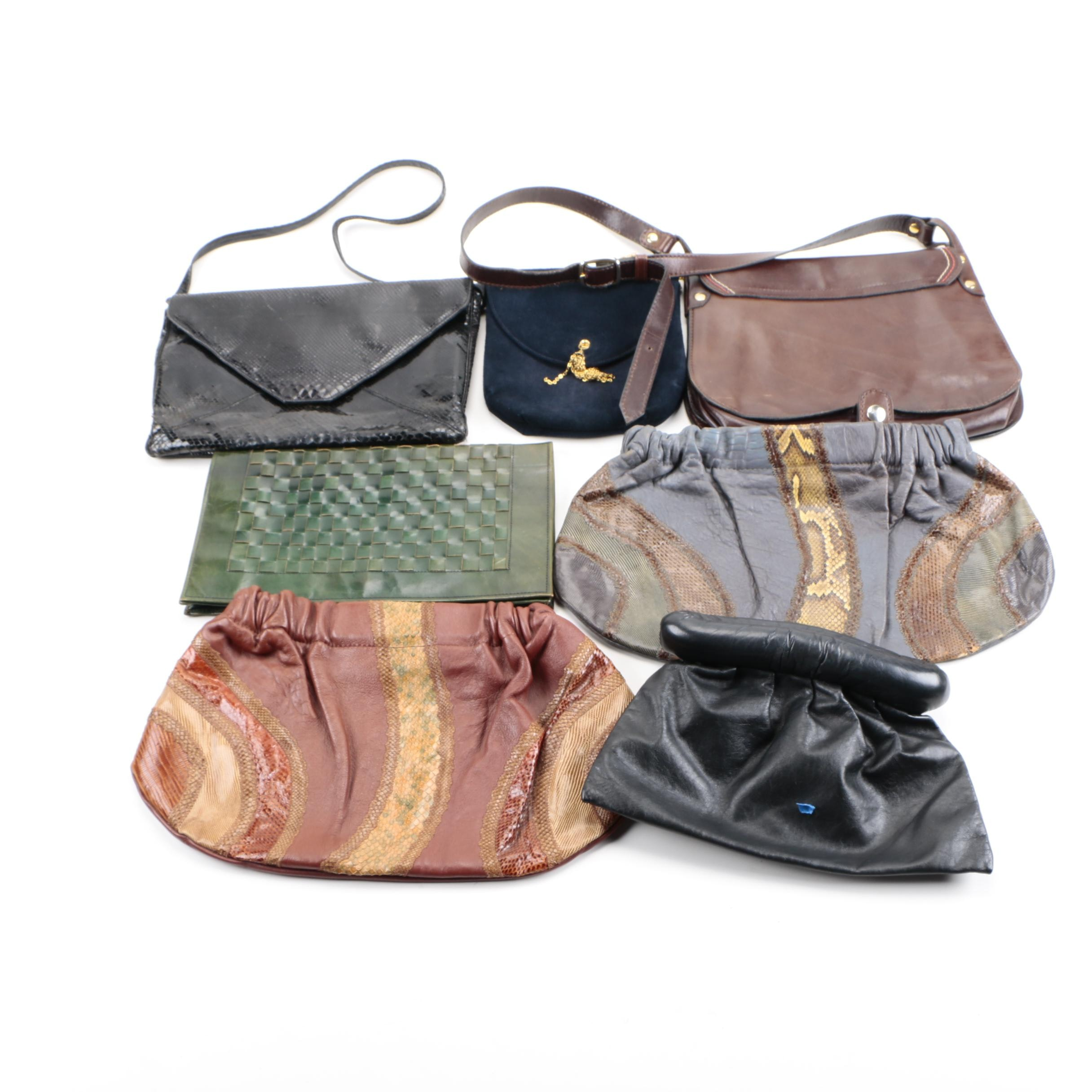 Leather and Reptile Handbags Including Carlos Falchi