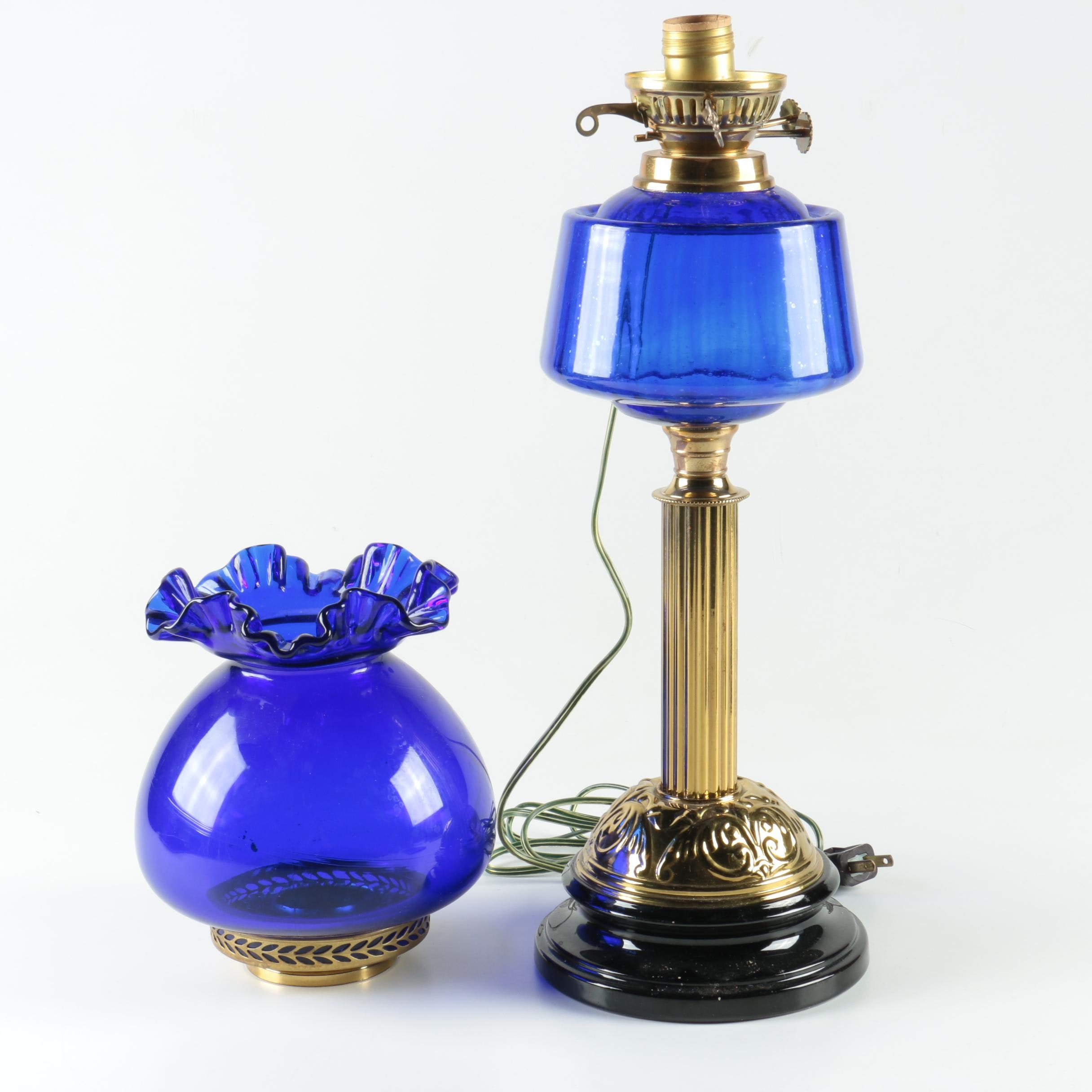 Blue Glass Accent Lamp