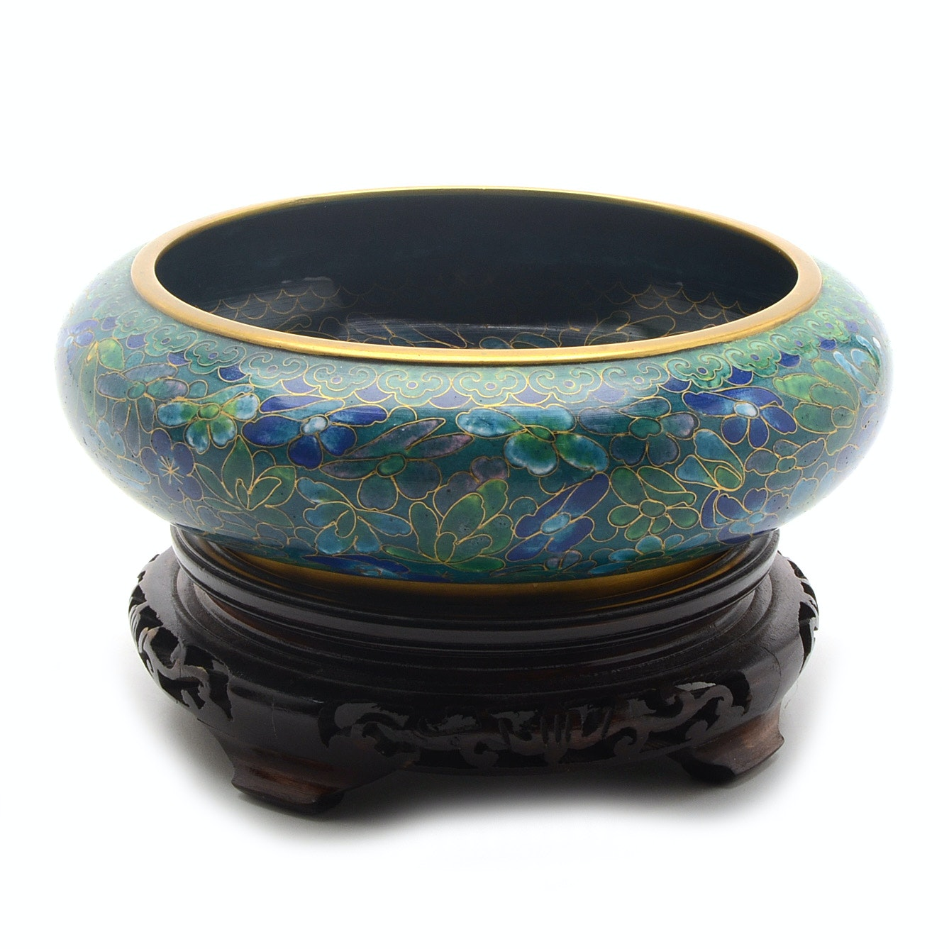 Chinese Cloisonné Bowl with Wood Stand