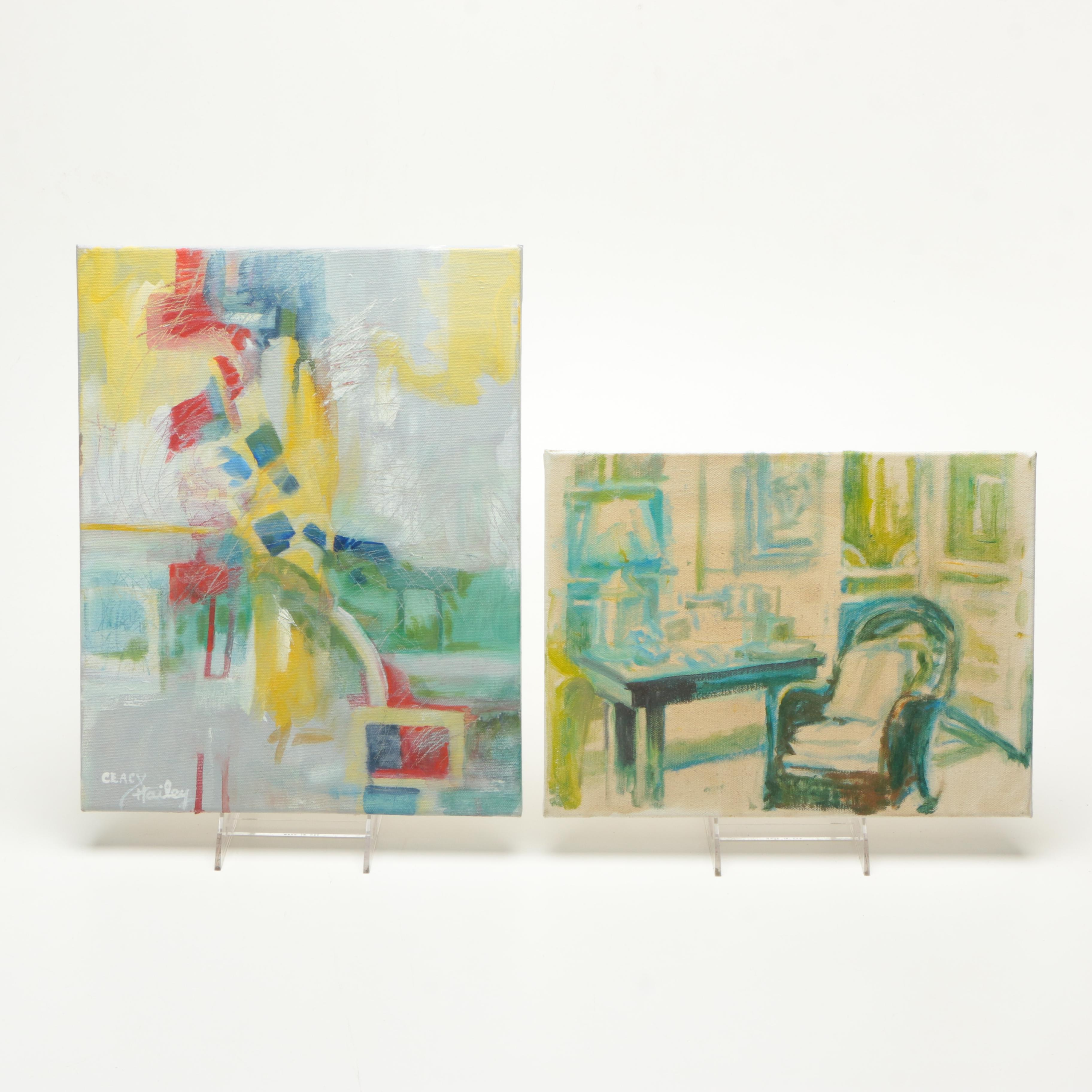 Two Oil Paintings on Canvas Including Ceacy Hailey Abstract Landscape