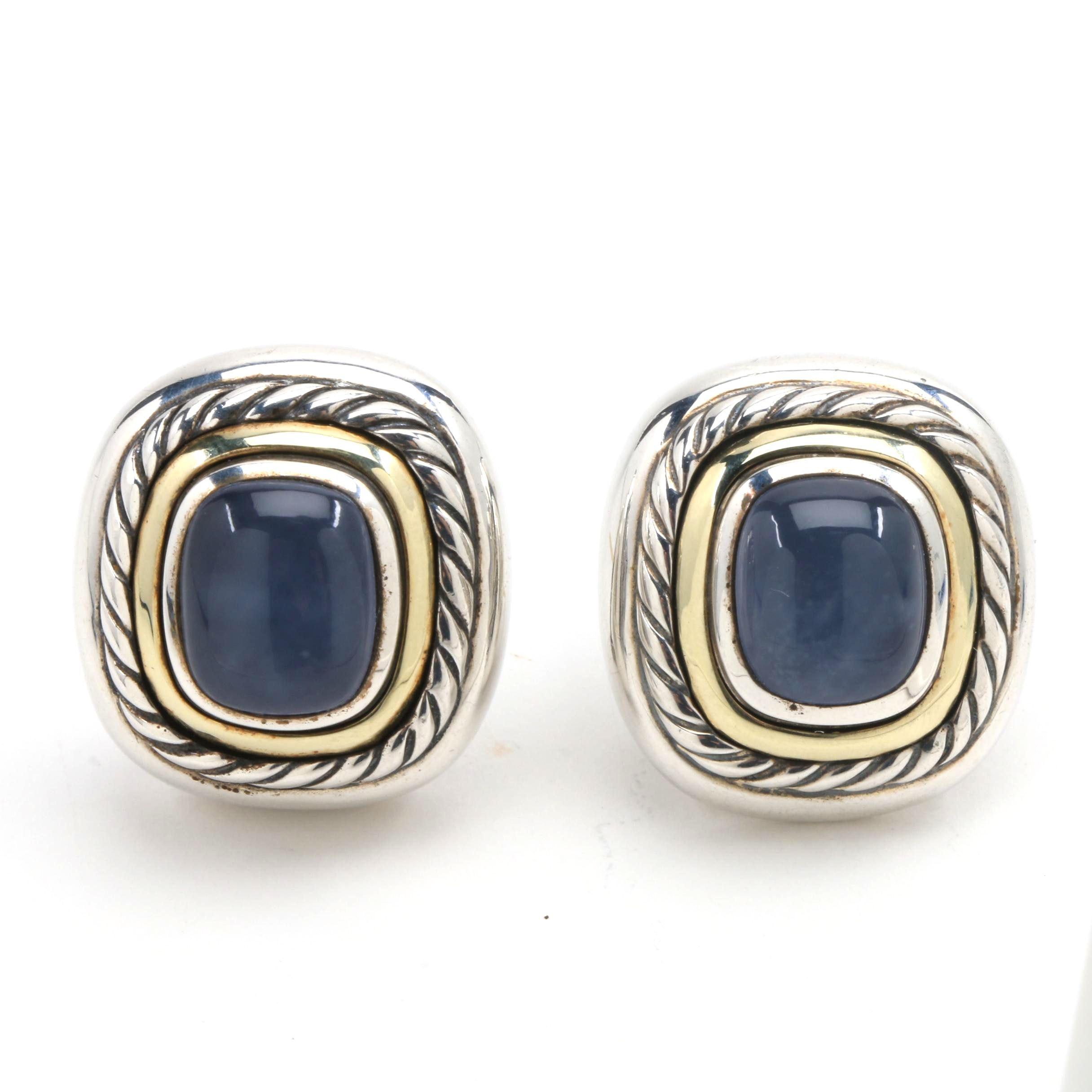 David Yurman Sterling Silver and Calcedony Post Earrings