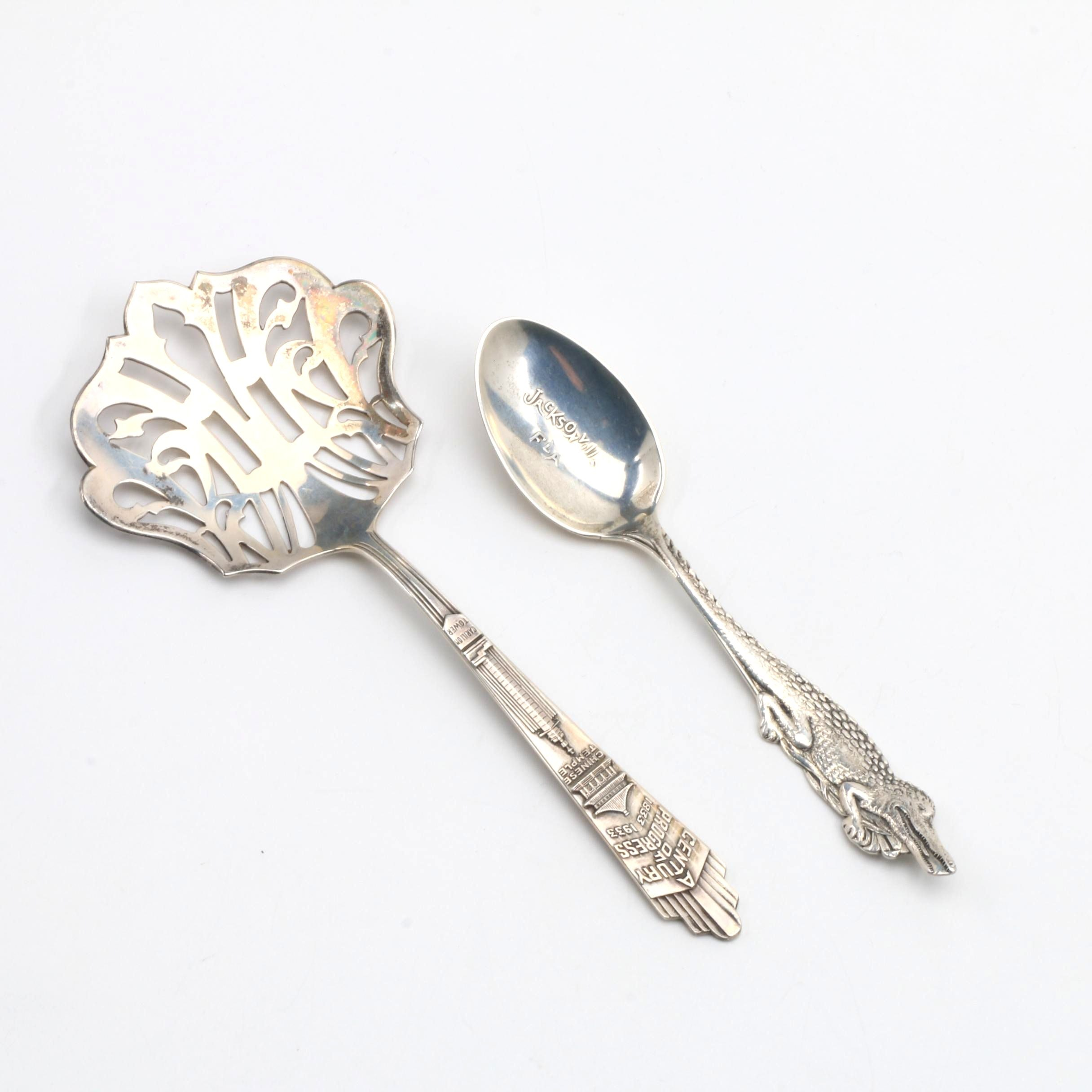 Pair of Sterling Silver Souvenir Flatware