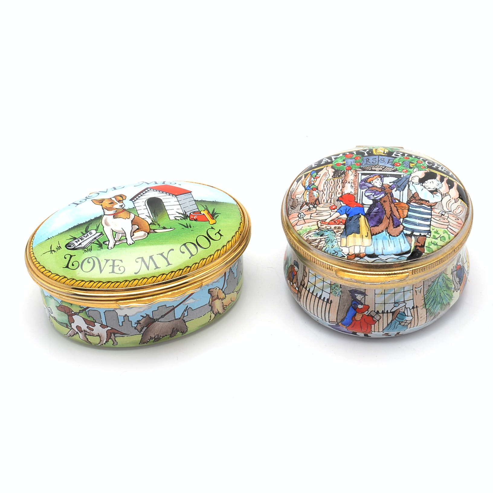 Collectible Enamel Trinket Boxes, Including Halcyon Days Enamels