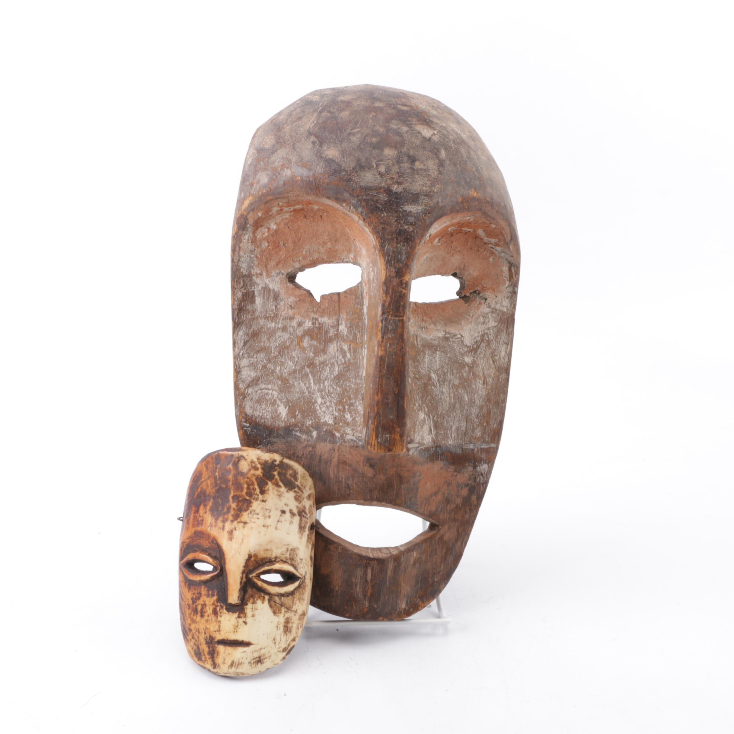 Two Central African Inspired Carved Wooden Masks