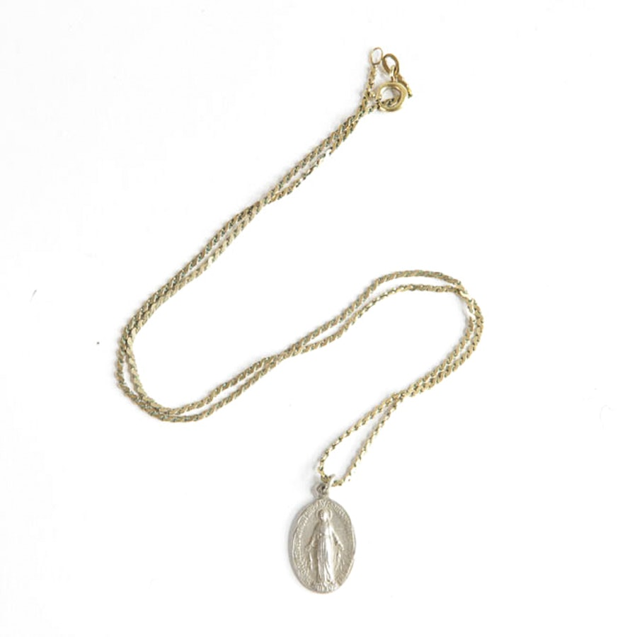 Sterling Virgin Mary Pendant with Necklace