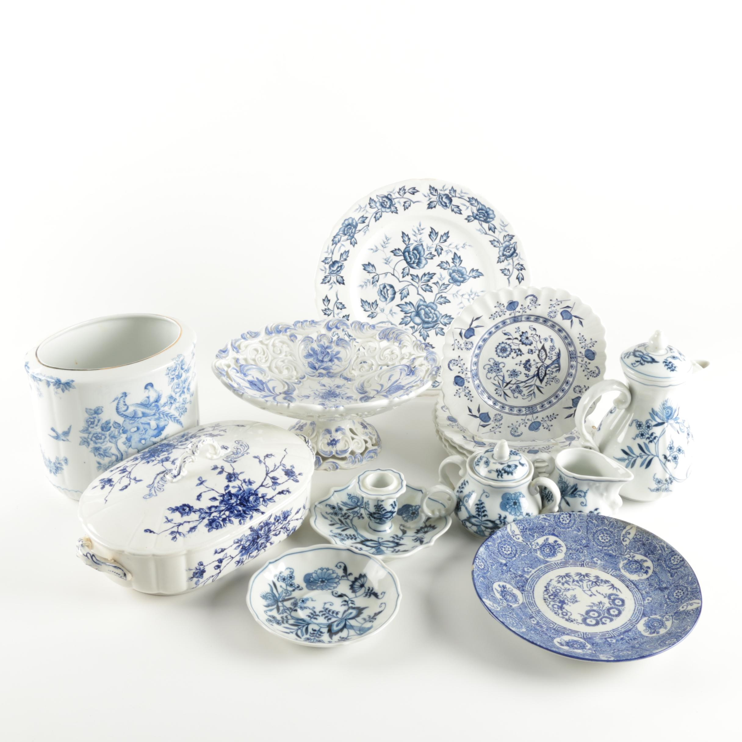 Assortment of Blue and White Ceramic Tableware