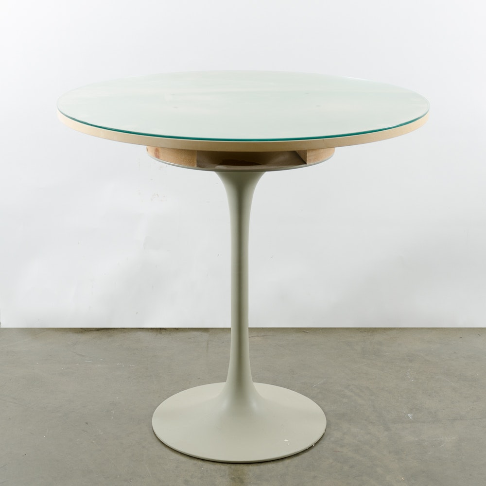 Round Modern White Wooden Table with Glass Top