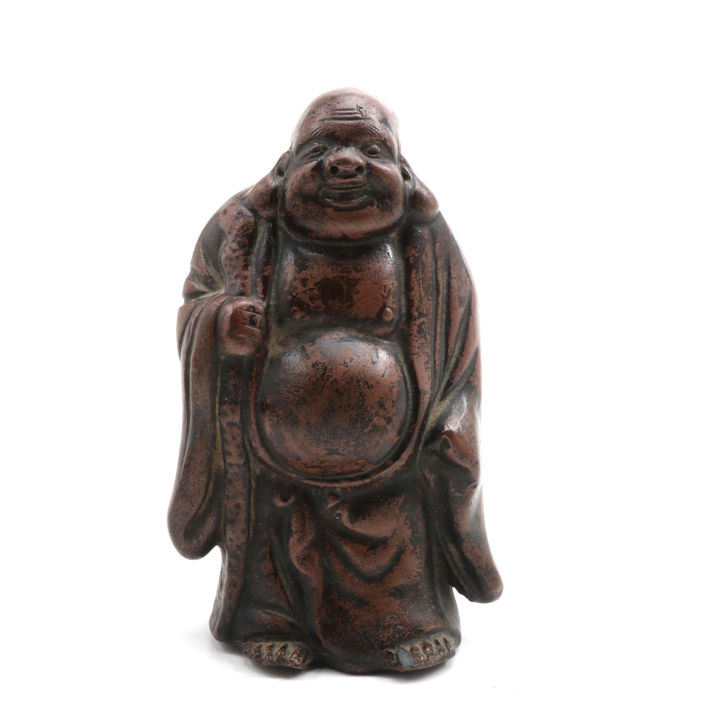 Japanese Bizen Ware Pottery Hotei Figurine