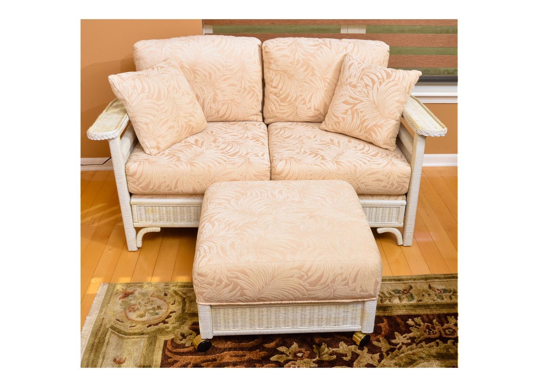 Wicker Love Seat and Ottoman