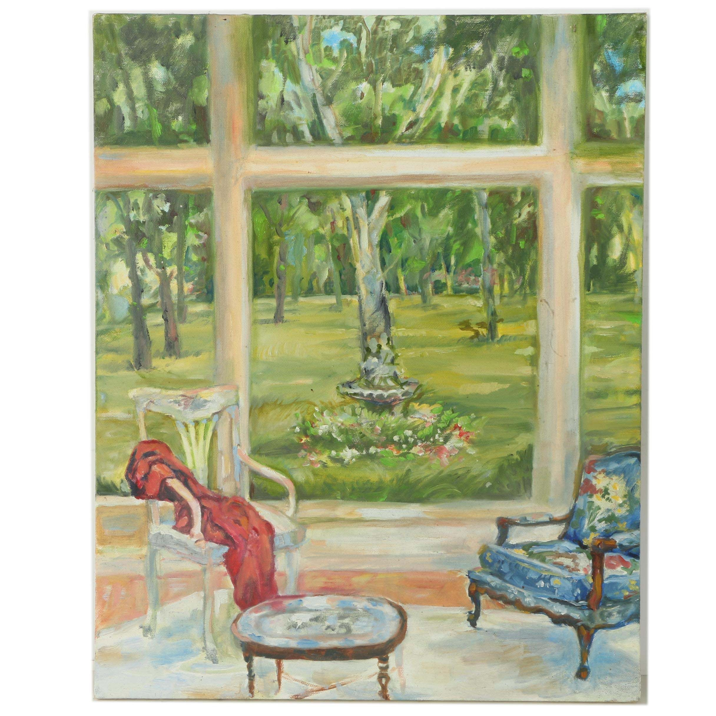 Oil Painting on Canvas of Two Chairs by Large Window with Wooded View