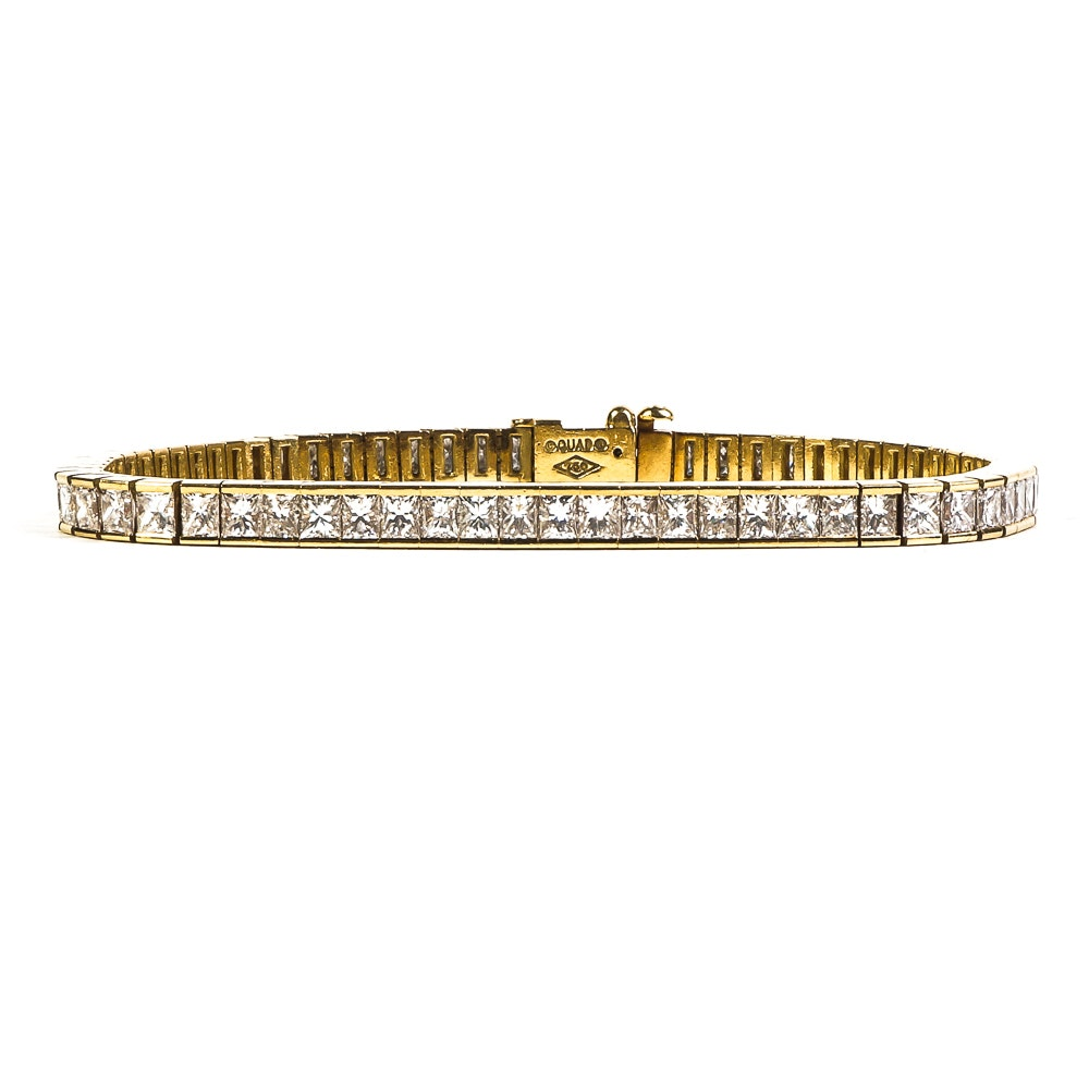 18K Yellow Gold and 7.25 CTW Princess Cut Diamond Tennis Bracelet