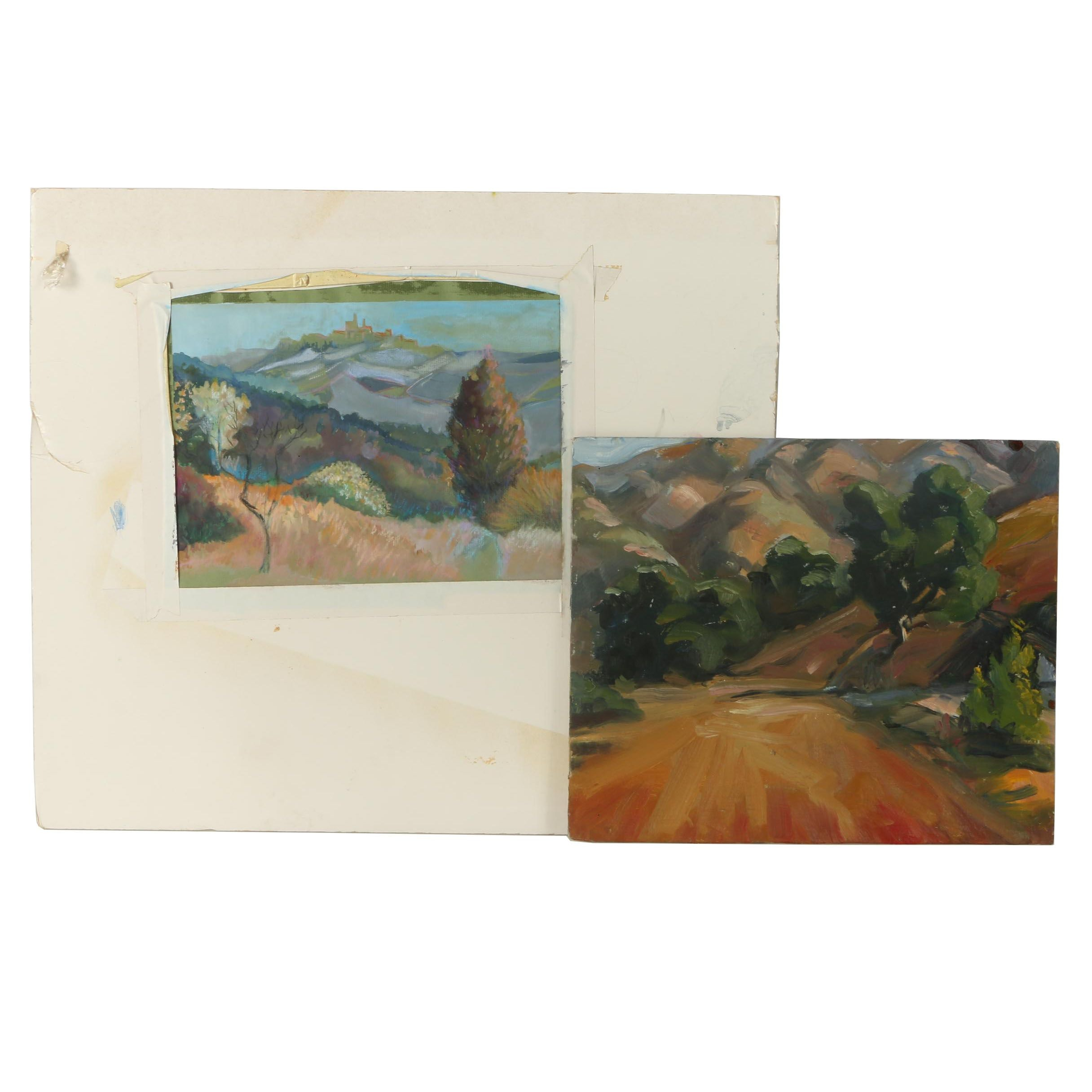 Gouache and Oil Paintings of Post Impressionist Inspired Landscape Scenes