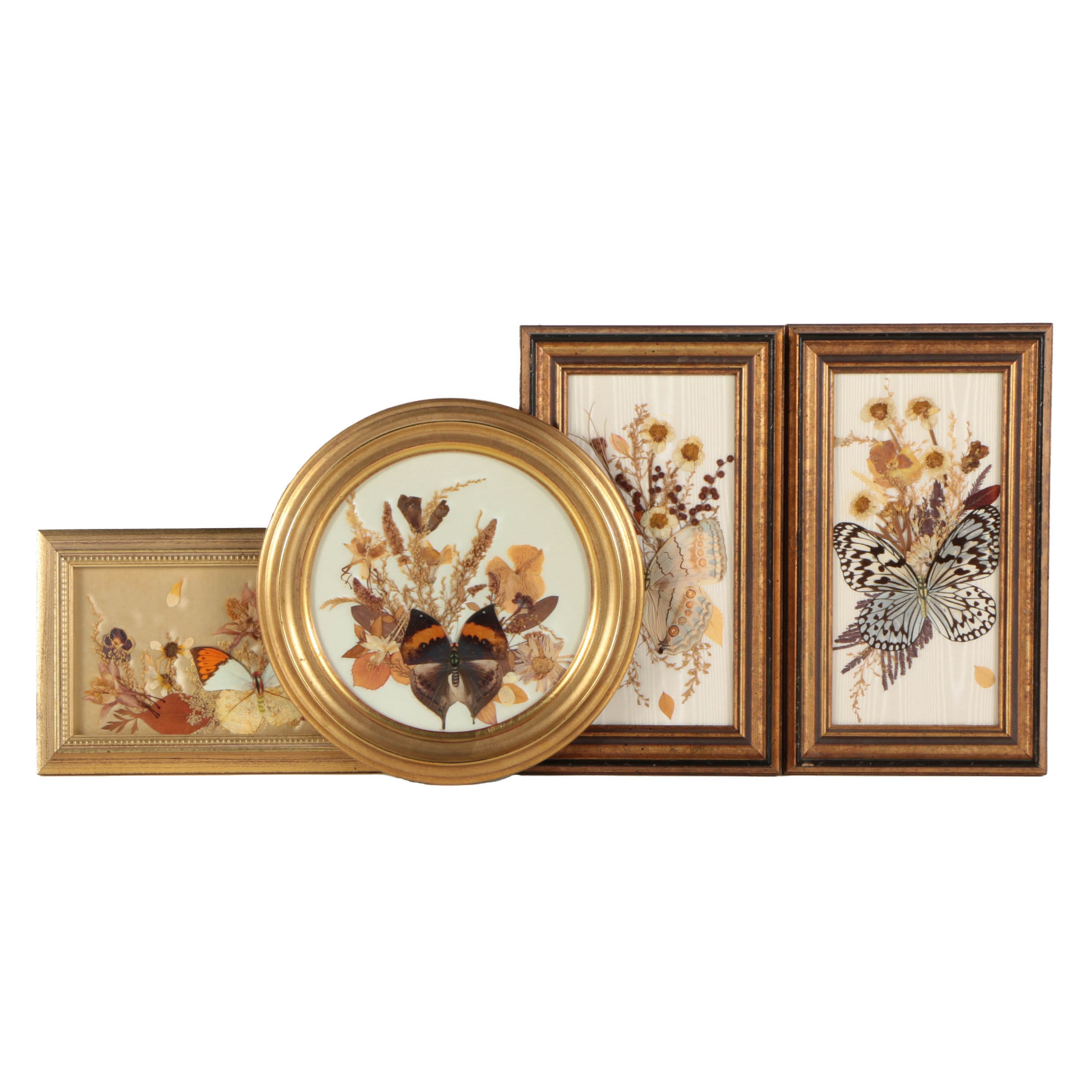 Assortment of Pressed Butterflies and Flowers on Fabric