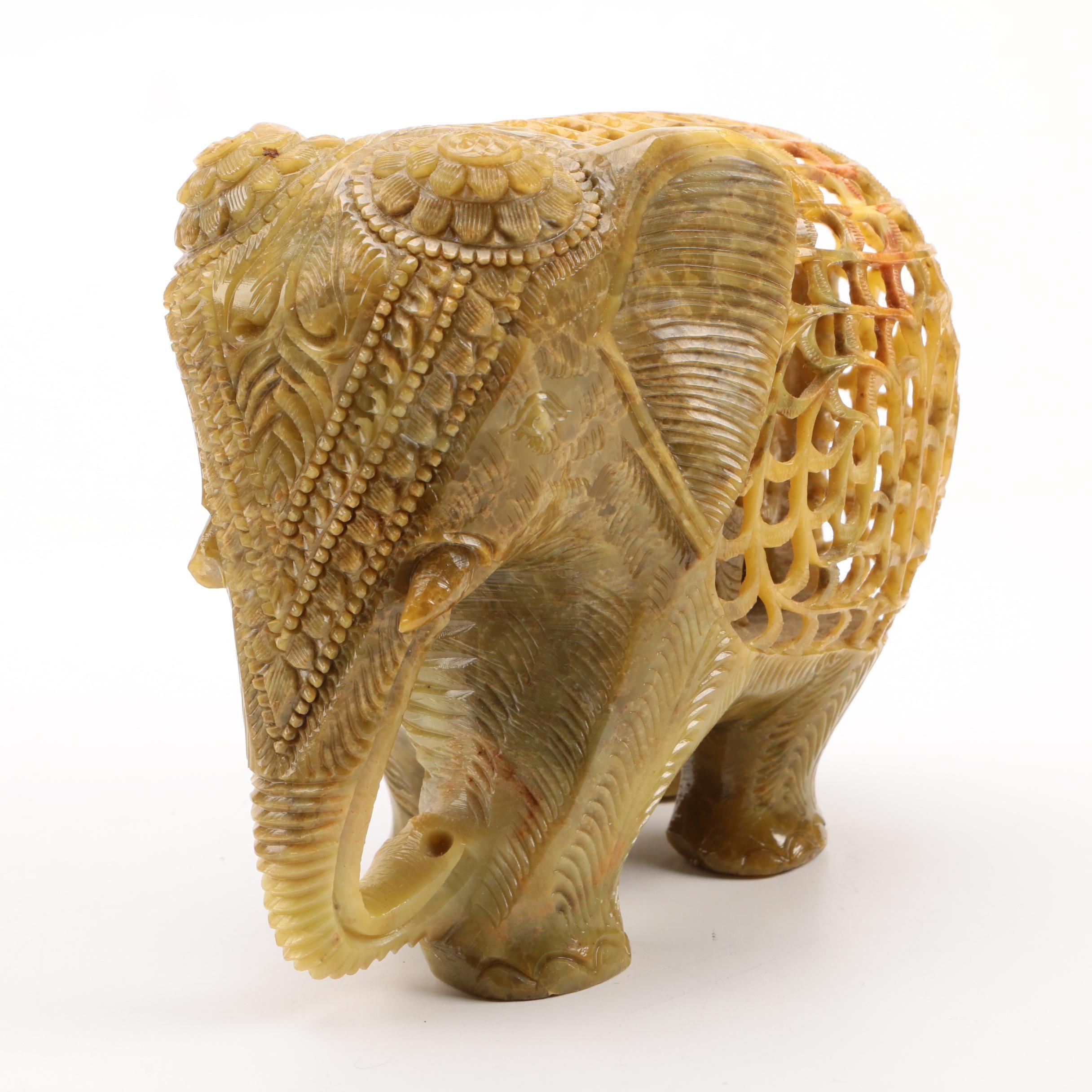 Soapstone-Carved Elephant