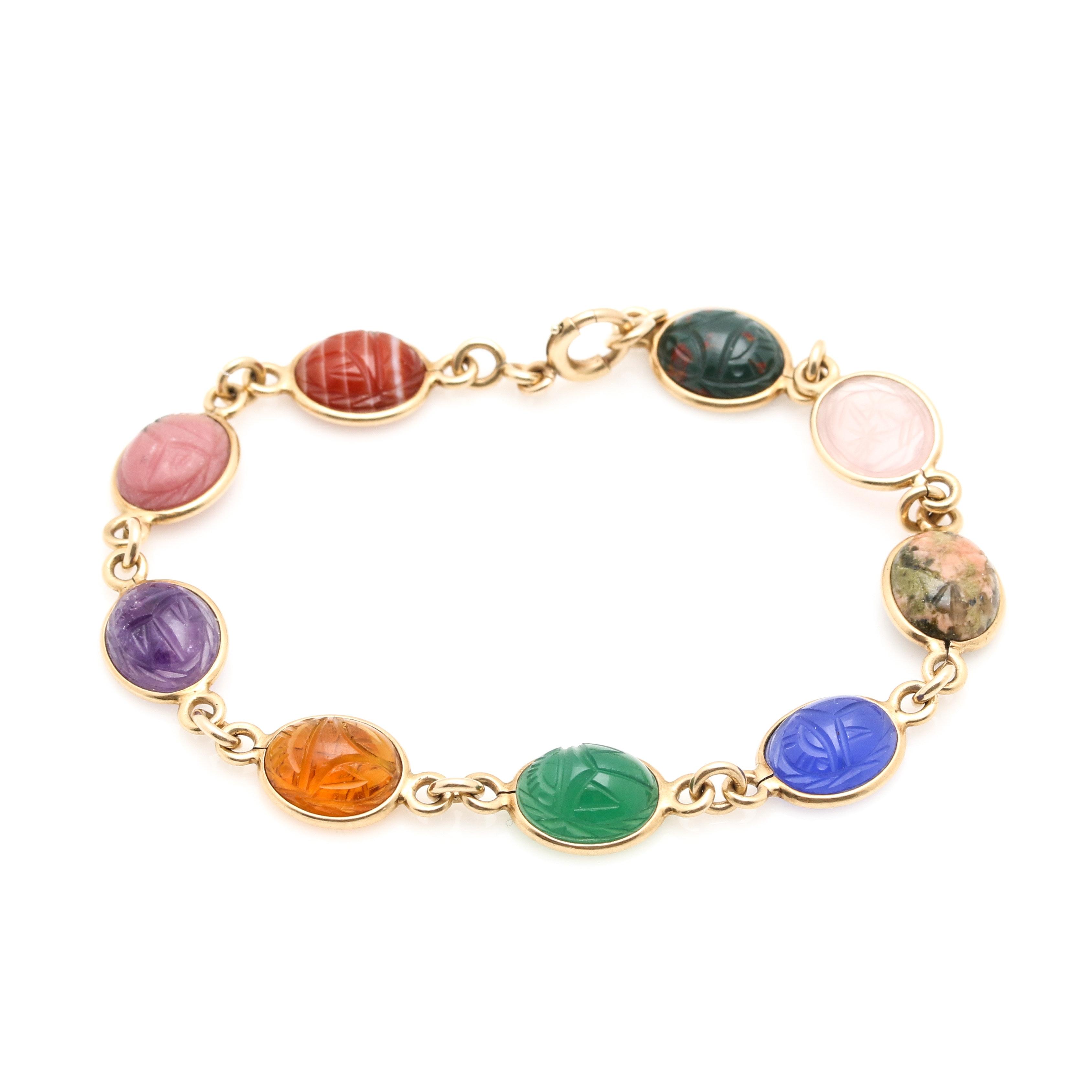 14K Yellow Gold Multi Gemstone Scarab Link Bracelet