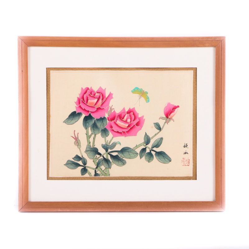 East Asian Style Watercolor and Gouache Painting on Silk of Flowers