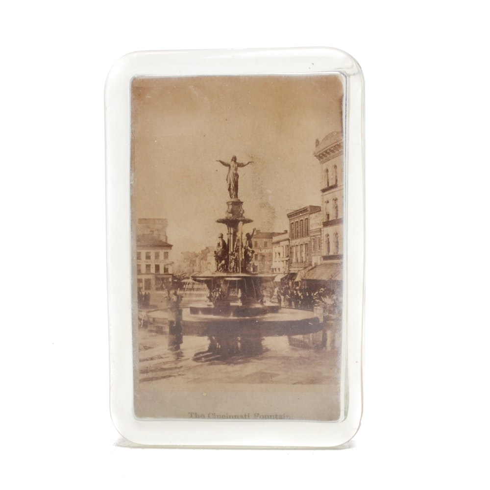 "1871 ""Tyler Davidson Fountain"" J.H. Hoover Glass Paperweight"