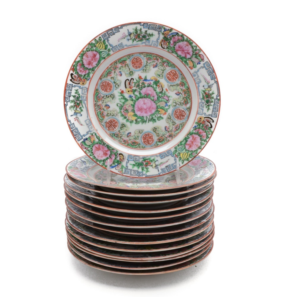 Chinese Hand-Painted Rose Canton Porcelain Plates