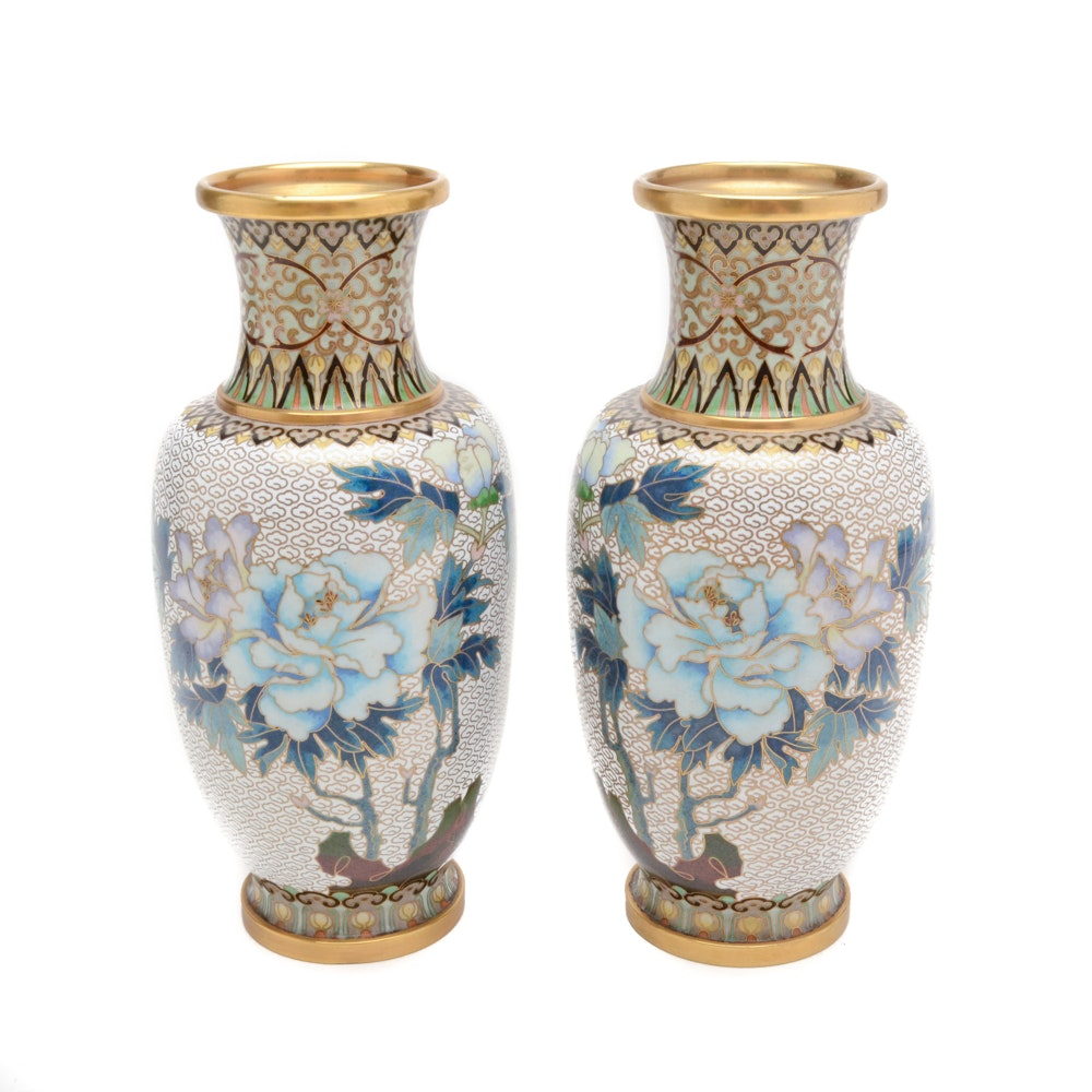 Chinese Cloisonné Urn Vases