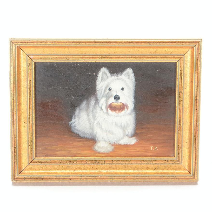 TK Original Oil Painting on Board of a Westie Terrier