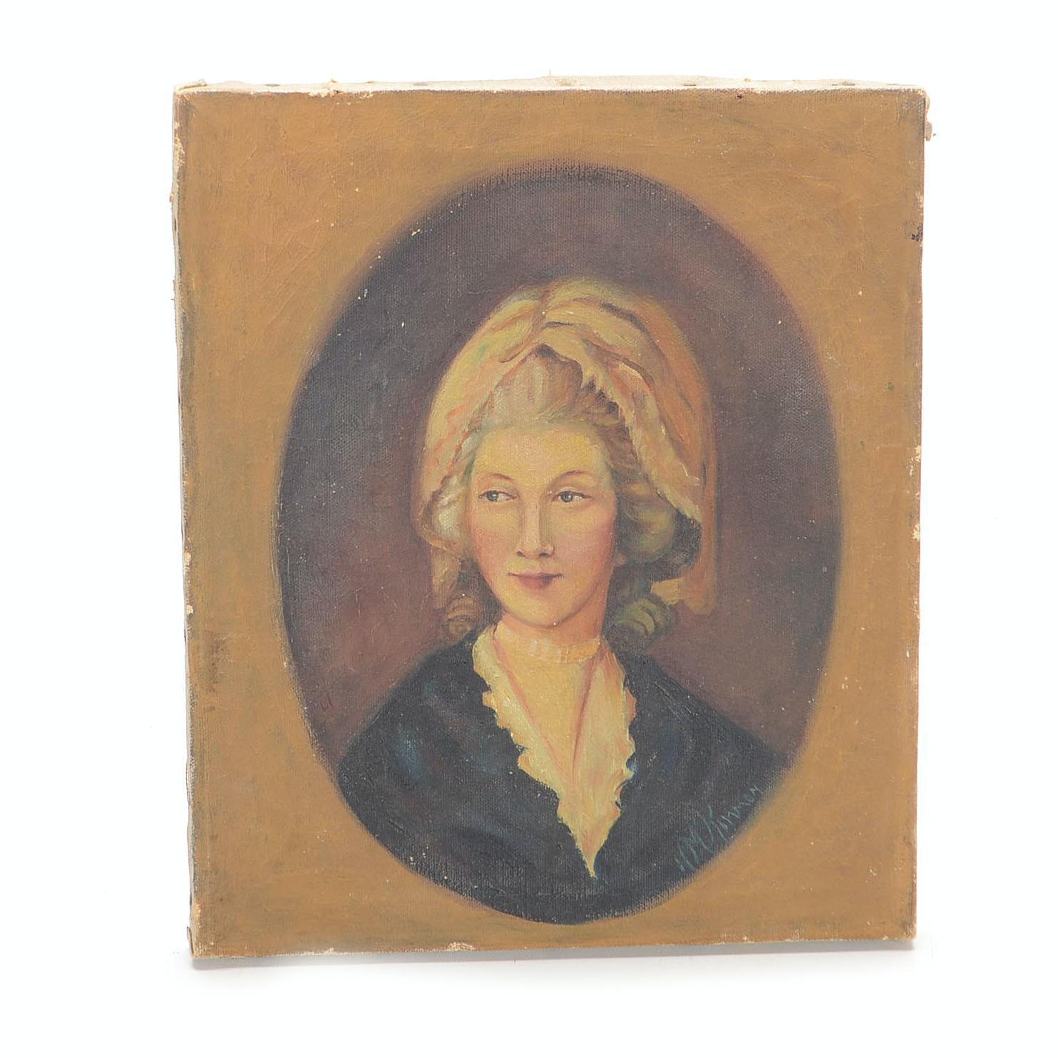HM Kimmon Vintage Oil on Canvas Portrait