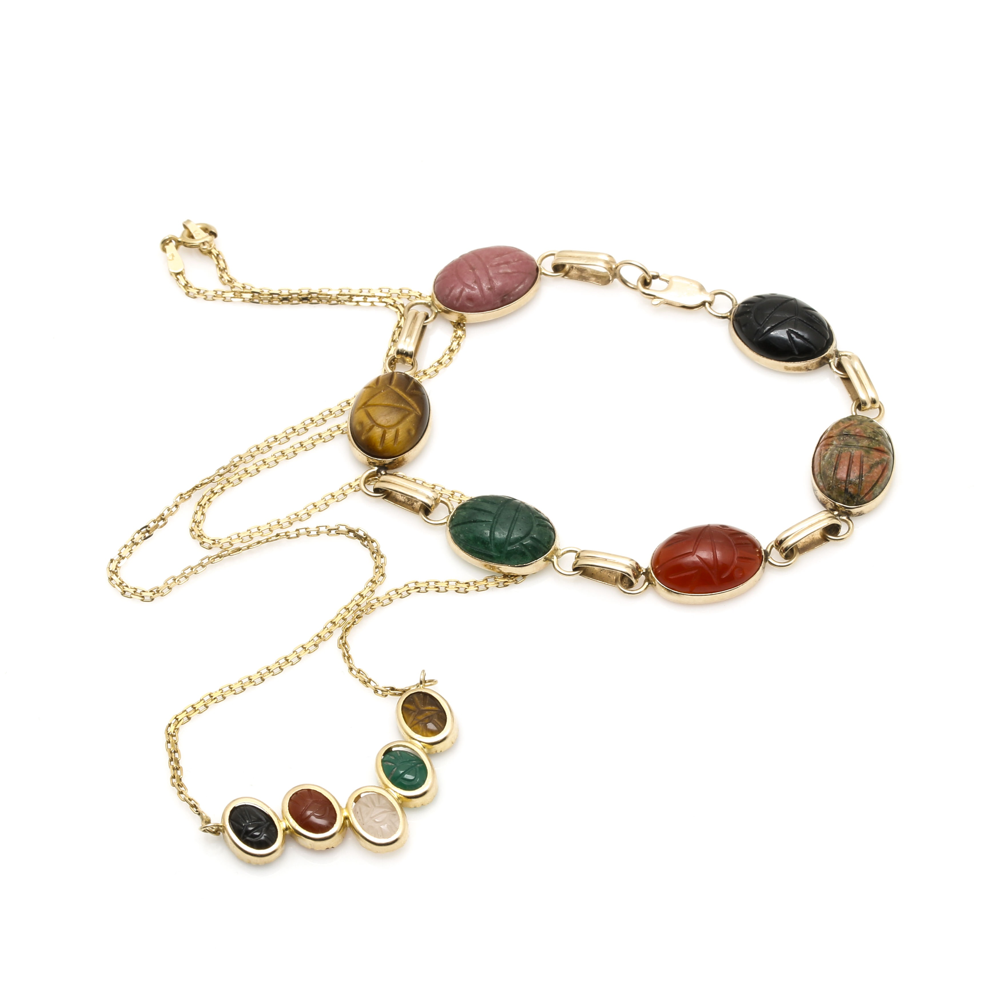 Selection of 14K Yellow Gold Multi Gemstone Scarab Link Bracelet and Necklace