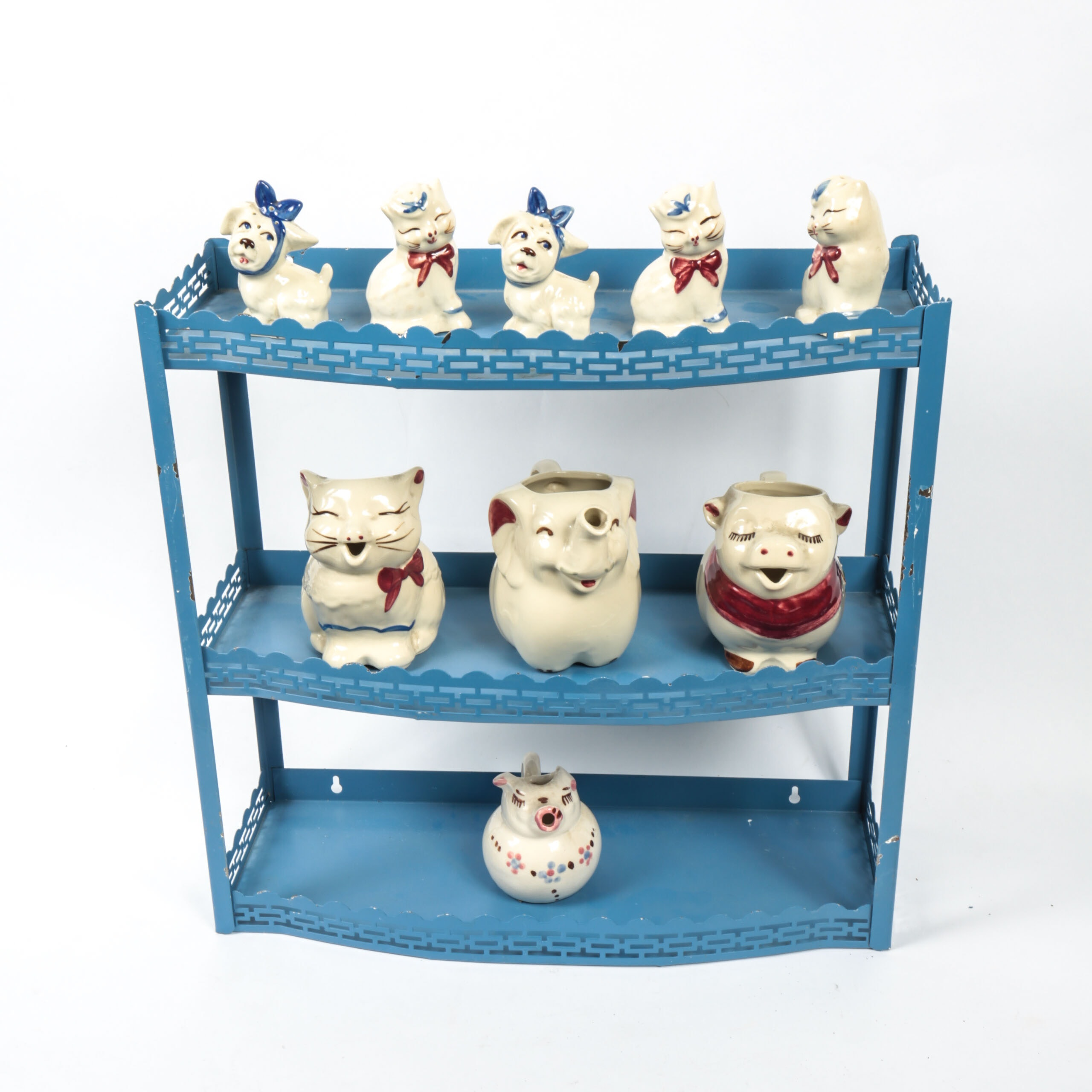 Collection of Ceramic Coin Banks, Shakers and Pitchers with Display Shelf