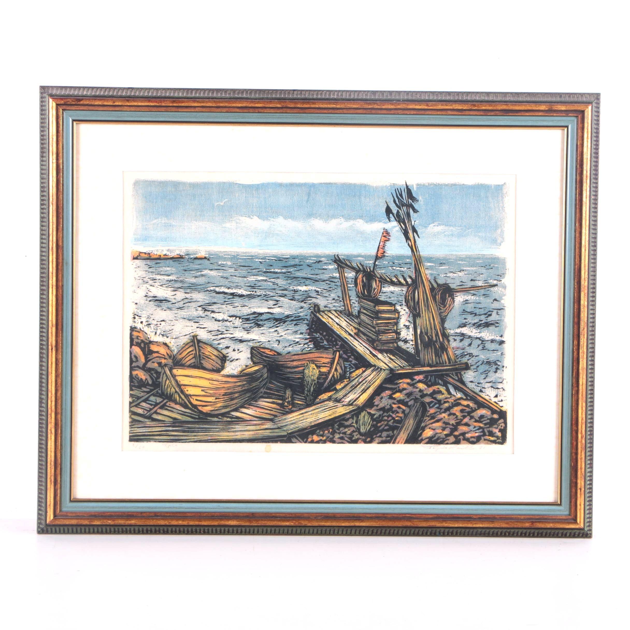 Tapio Haili Limited Edition Serigraph on Paper of Ship Scene
