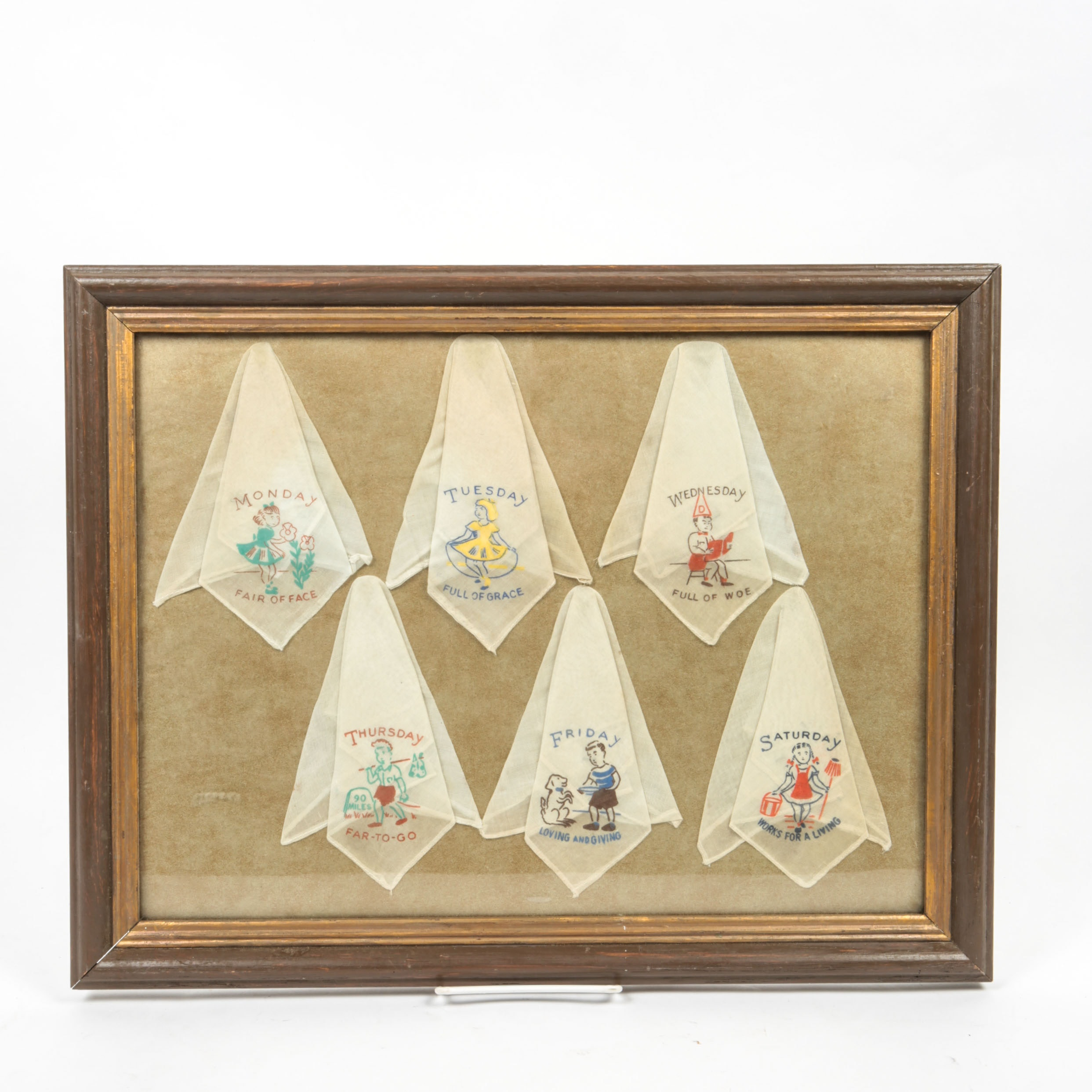 Vintage Framed Daily Handkerchief Collection