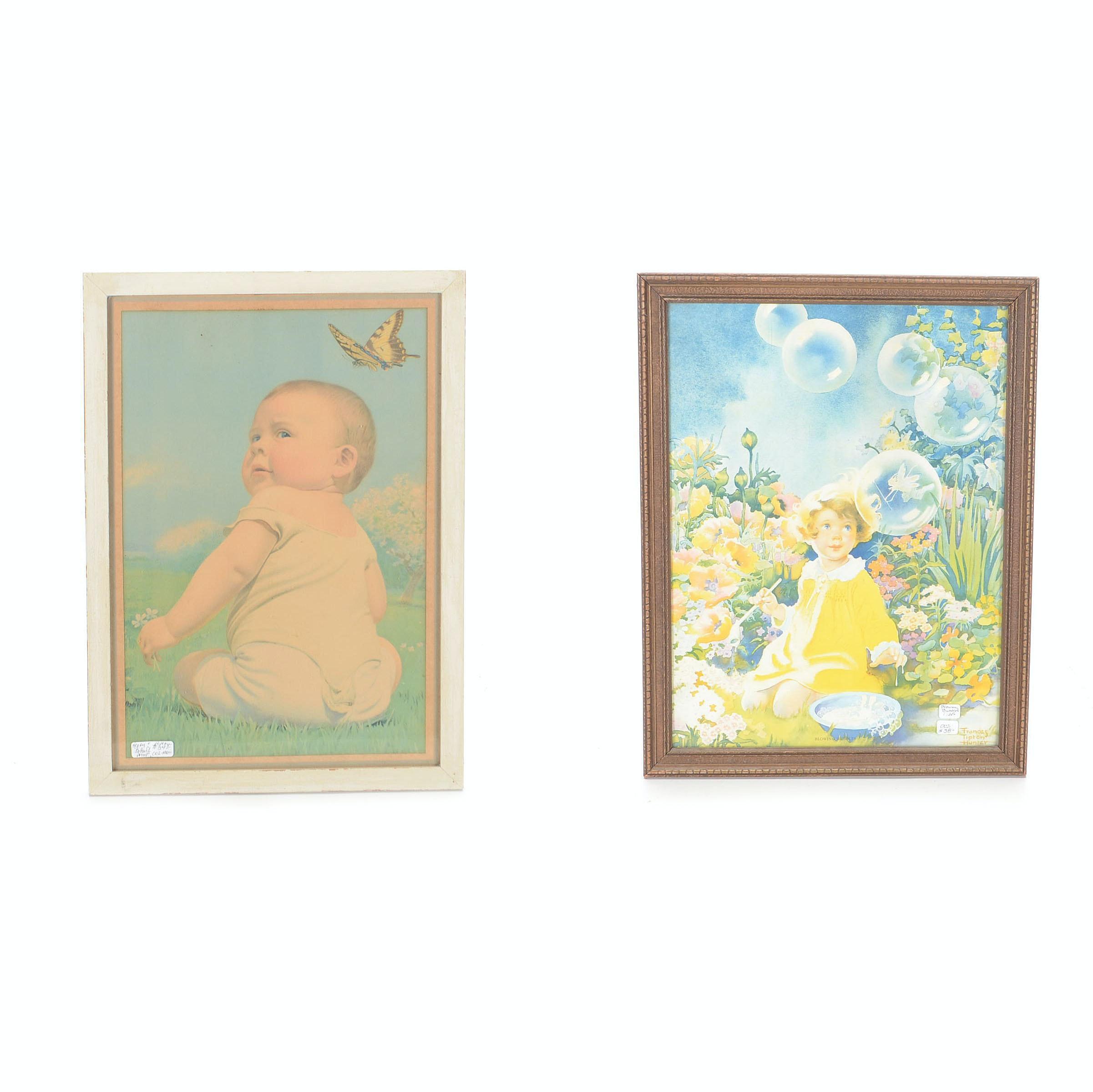 Pair of Vintage Prints of Children