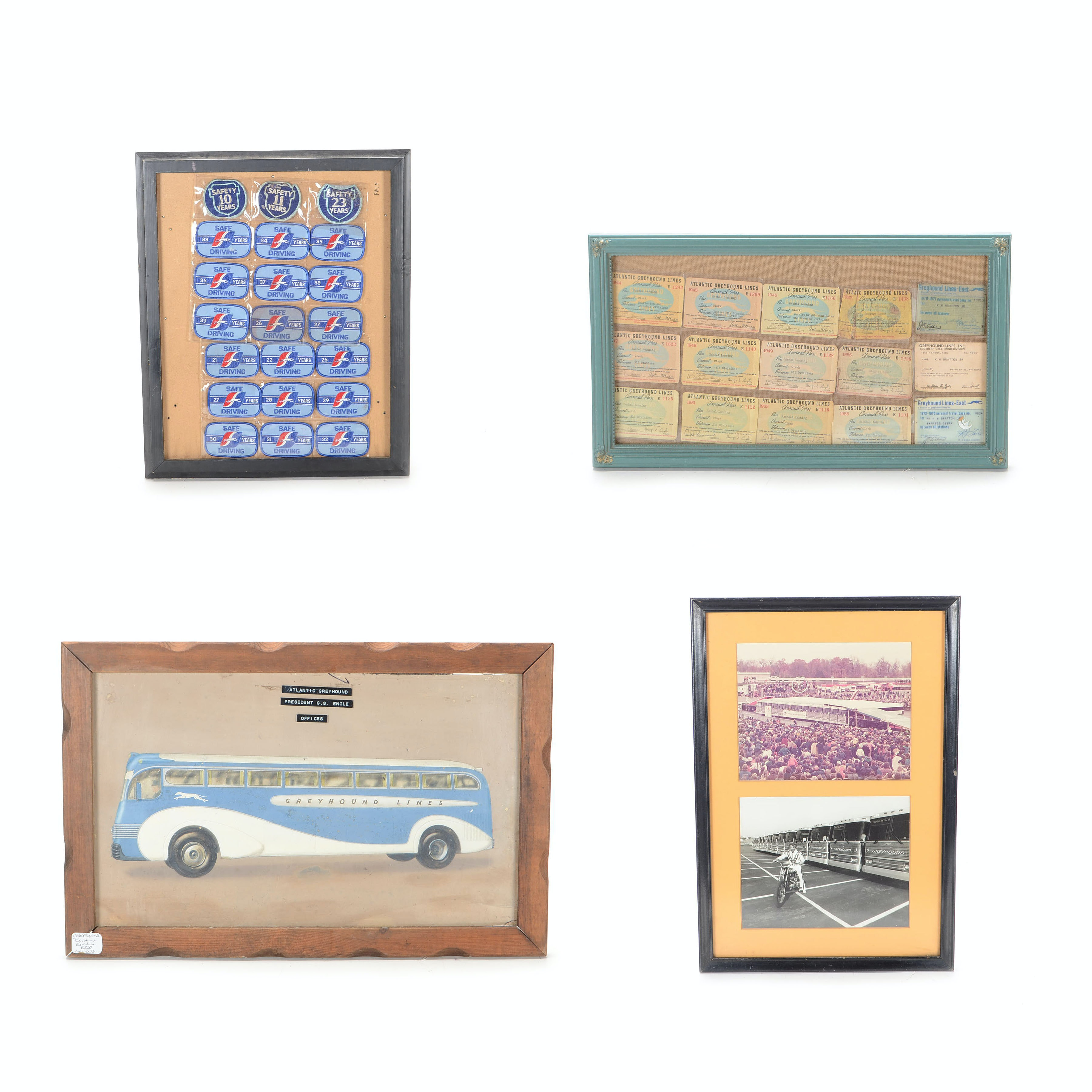 Collection of Framed Greyhound Bus Collectibles