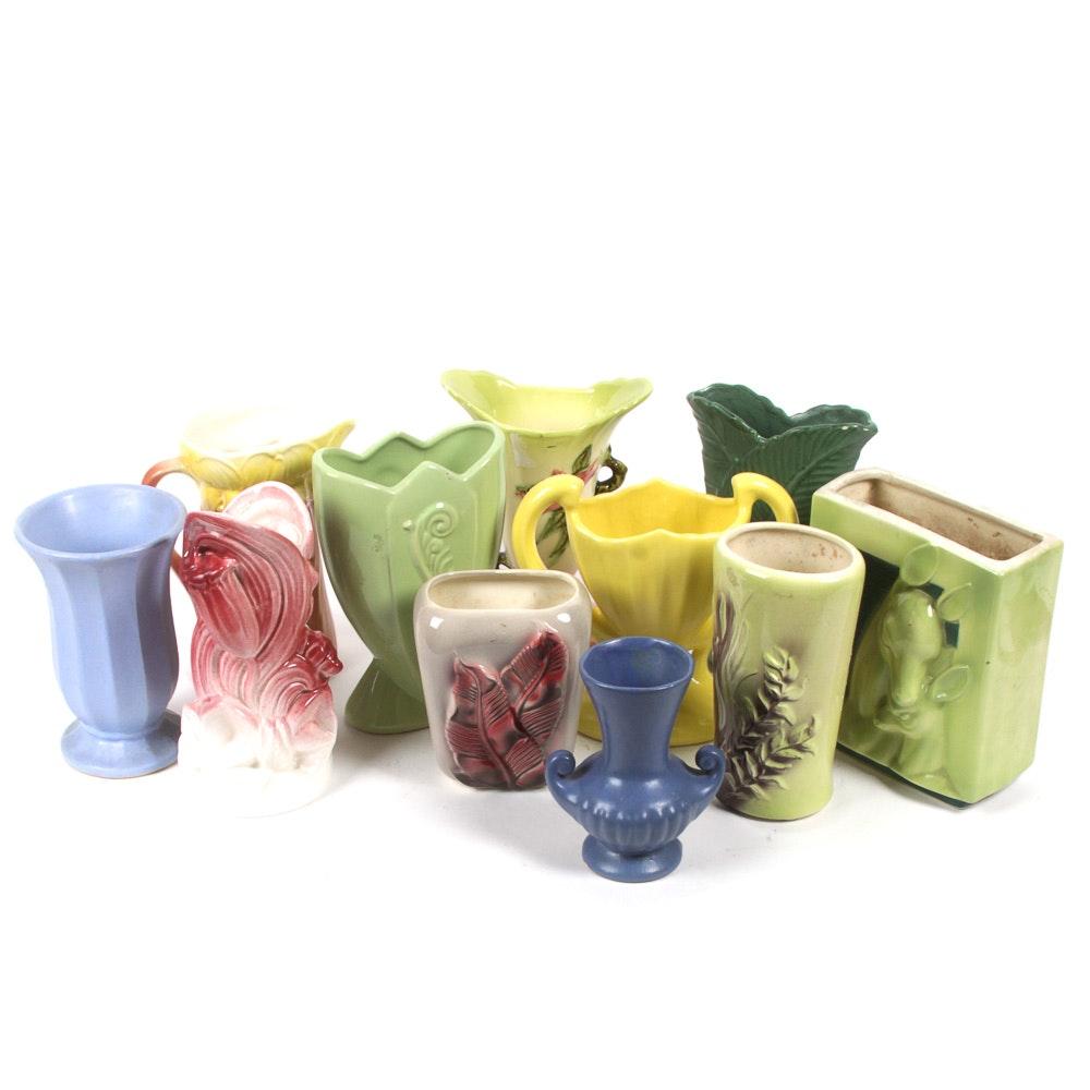 Assortment of Vintage Ceramic Vases Featuring Hull