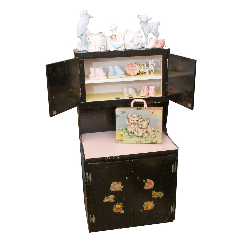 Vintage Child-Sized Cabinet, Toys and Nursery Decor