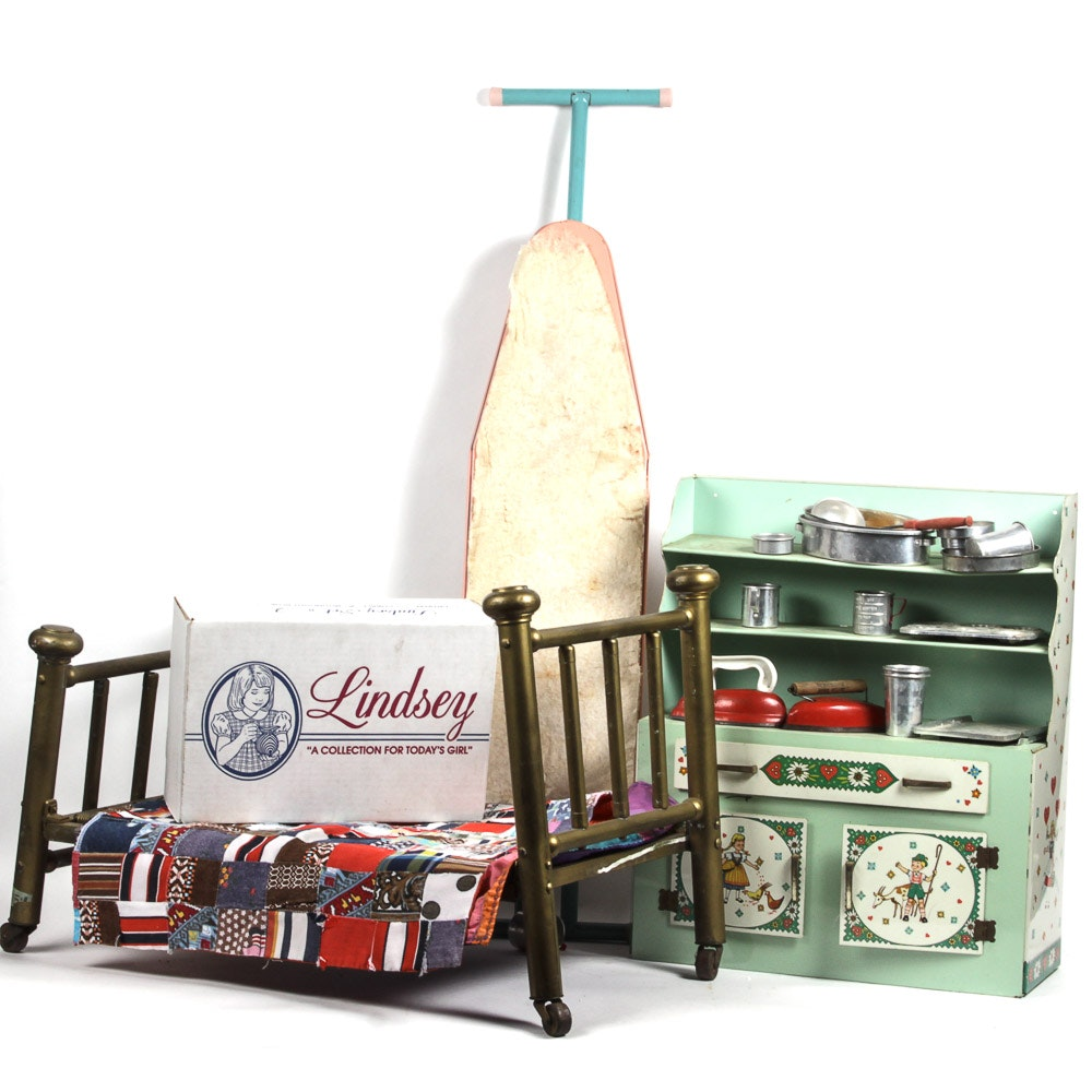 Variety of Children's Vintage Pretend Furniture and Accessories