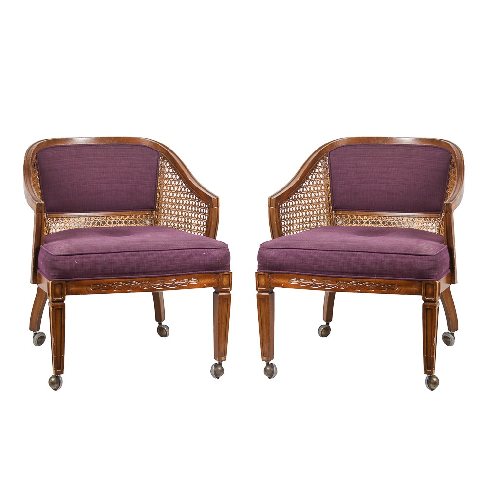 Pair of Vintage Caned Armchairs