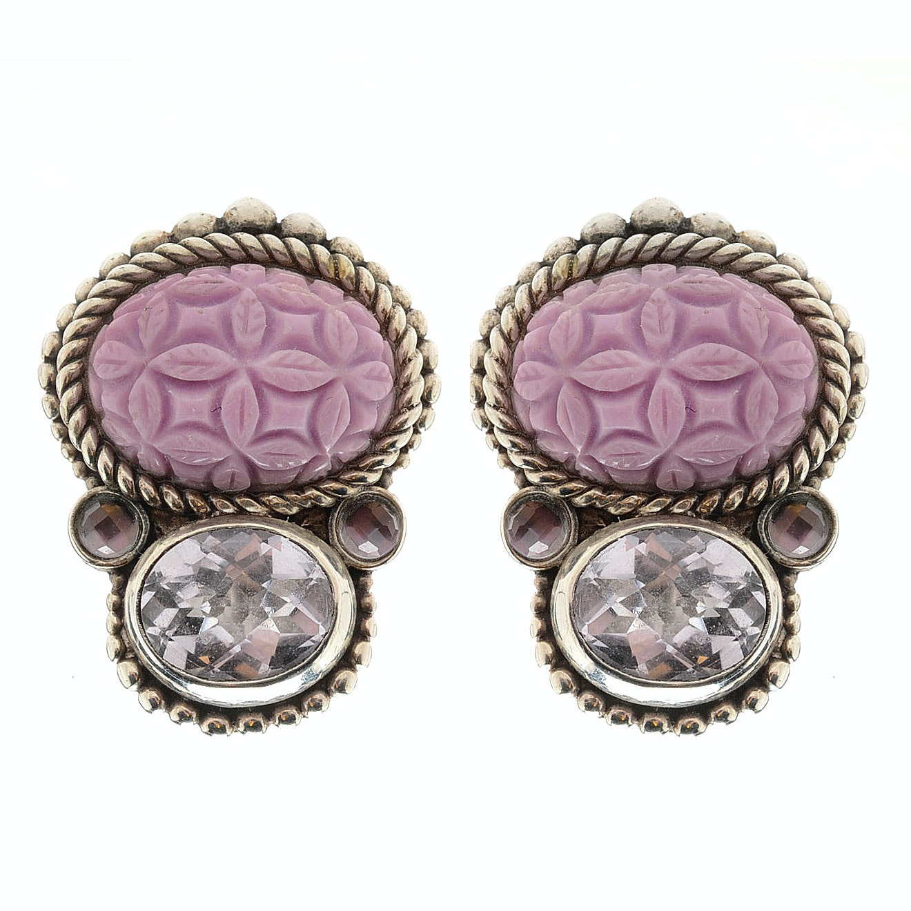 Stephen Dweck Sterling Silver Amethyst and Dyed Agate Clip Earrings