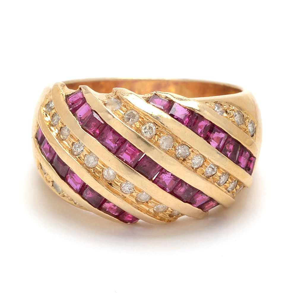 14K Yellow Gold Dome Ring with Rubies and Diamonds
