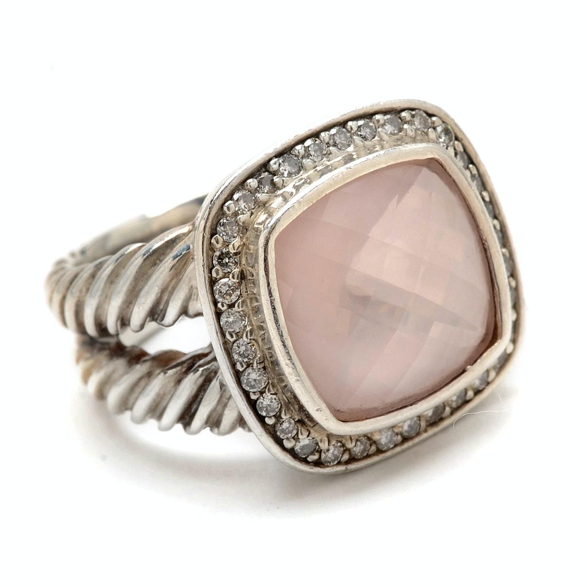 David Yurman Sterling Silver Ring with Rose Quartz and Diamond Setting