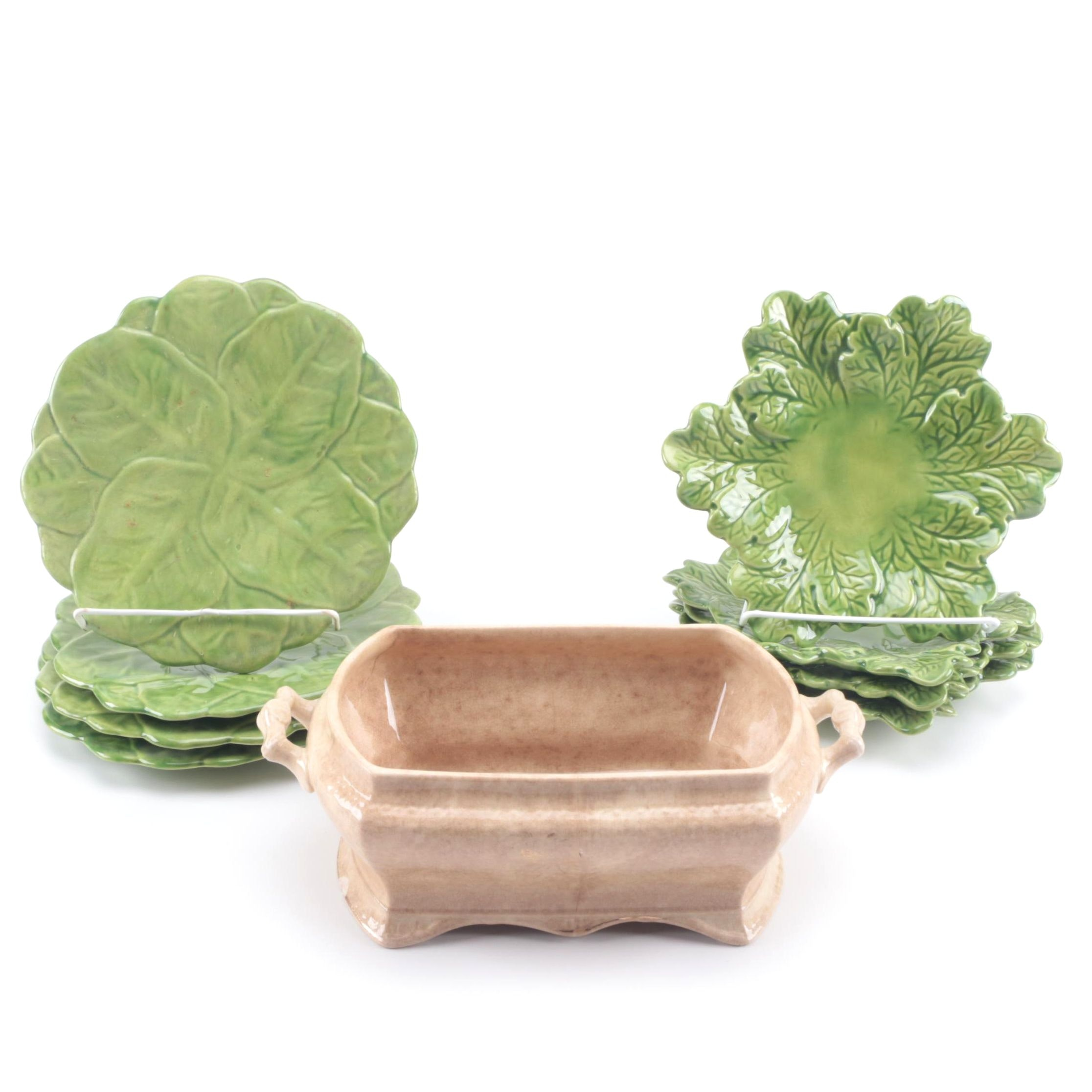 Vintage Ironstone with Majolica Style Leaf Plates