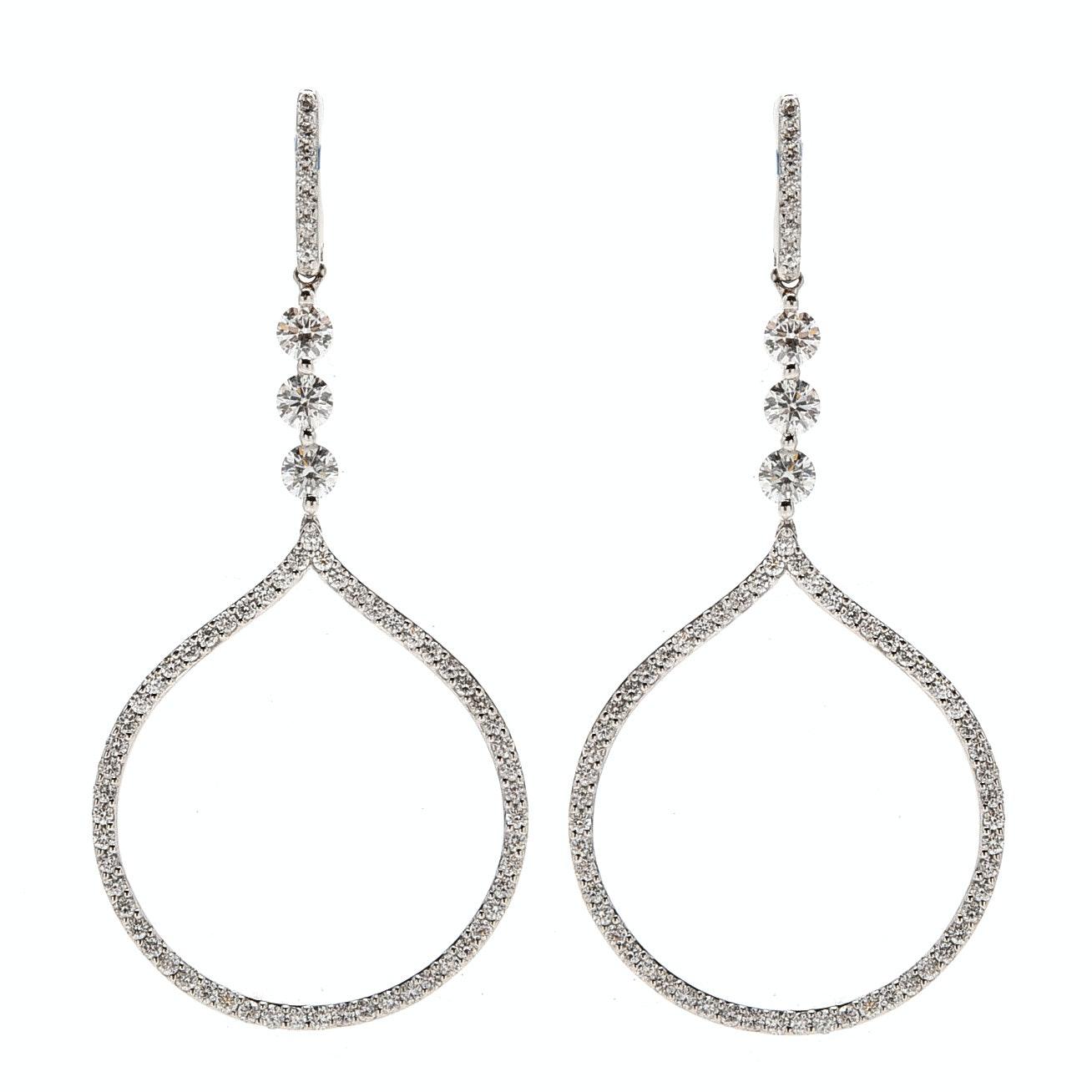 18K White Gold 1.08 CTW Diamond Drop Earrings