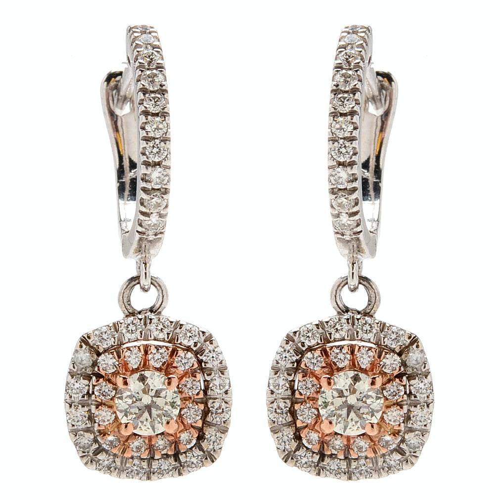 1.29 CTW Diamond Dangle Earrings in 14K White and Rose Gold