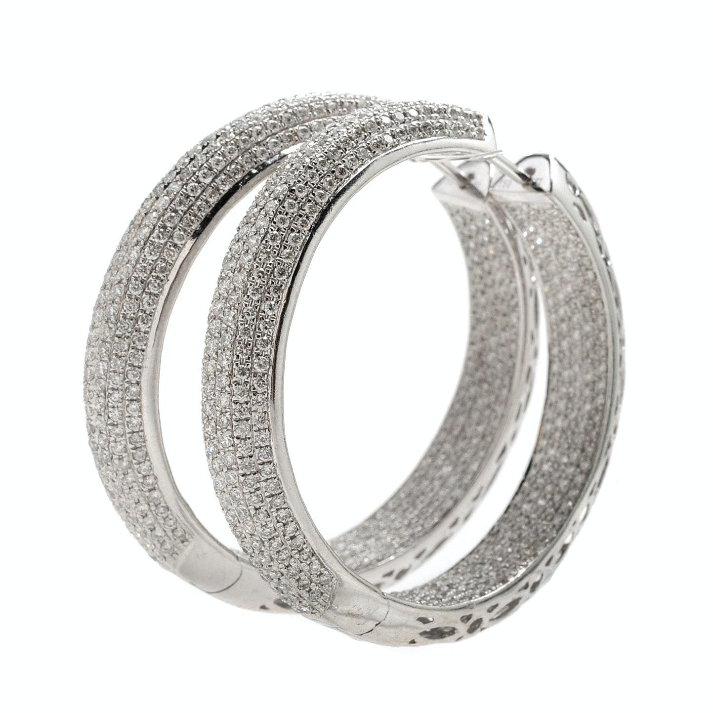 LTJ 4.37 CTW Diamond Reversible Hoop Earrings in 18K White Gold