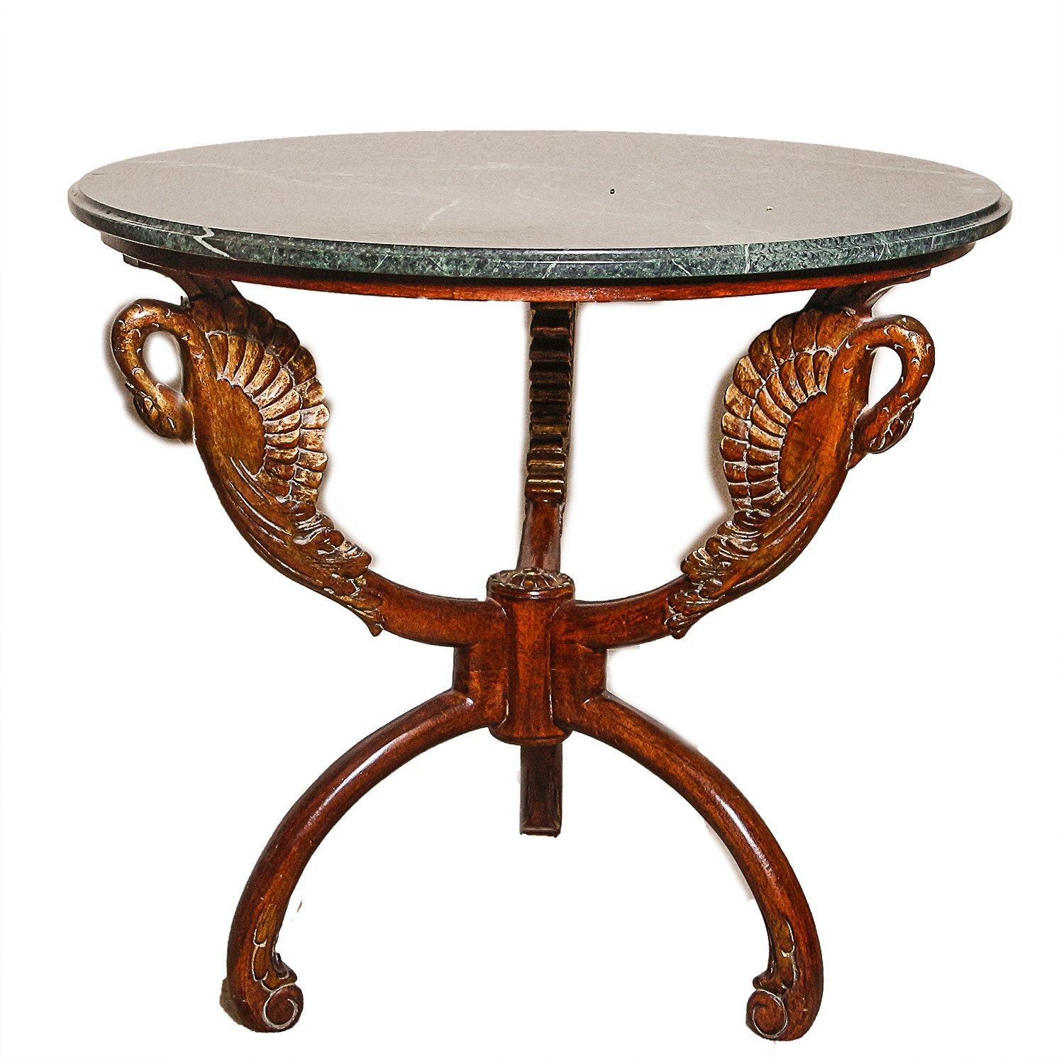 Carved Wooden Marble Top Side Table
