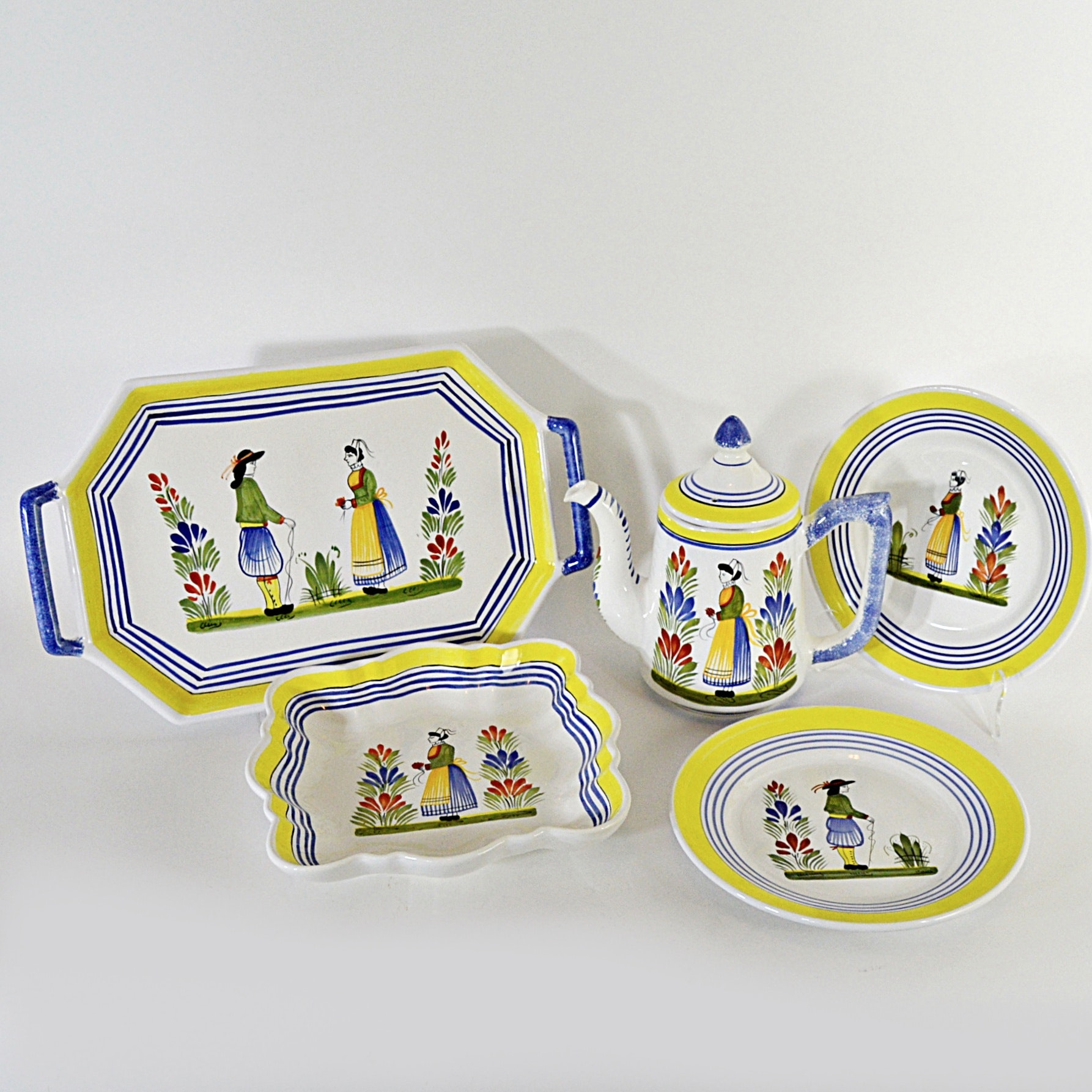 Collection of Henriot Quimper Hand-Painted French Tableware