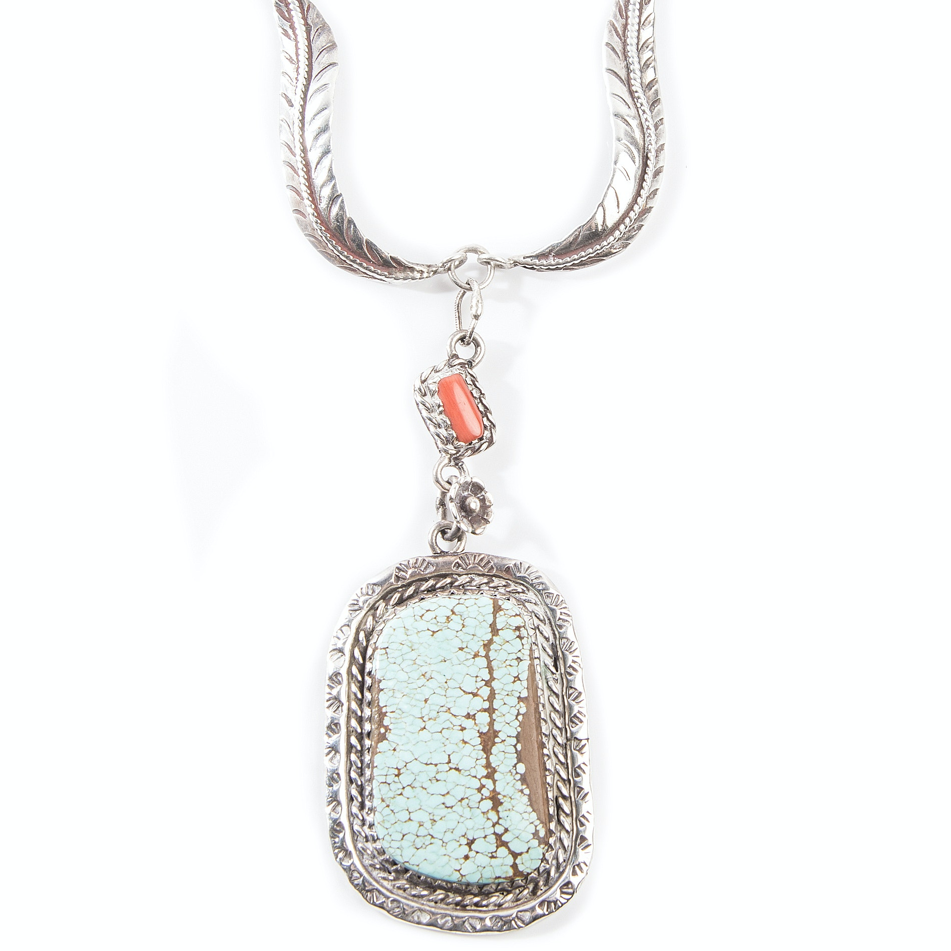 Signed Sterling Native American Style Turquoise and Coral Necklace